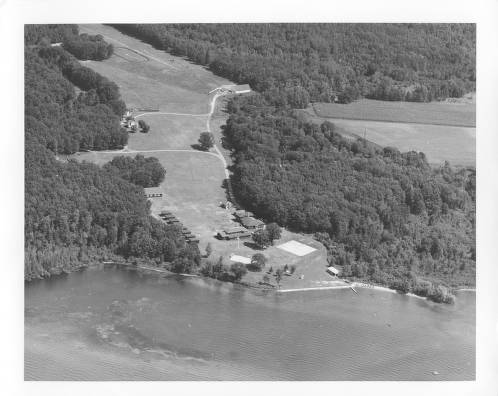 An aerial view of Camp Tivoli on Shawano Lake, Wis., a summer camp run by the Norbertine order of priests from 1925 until the early 1980s.