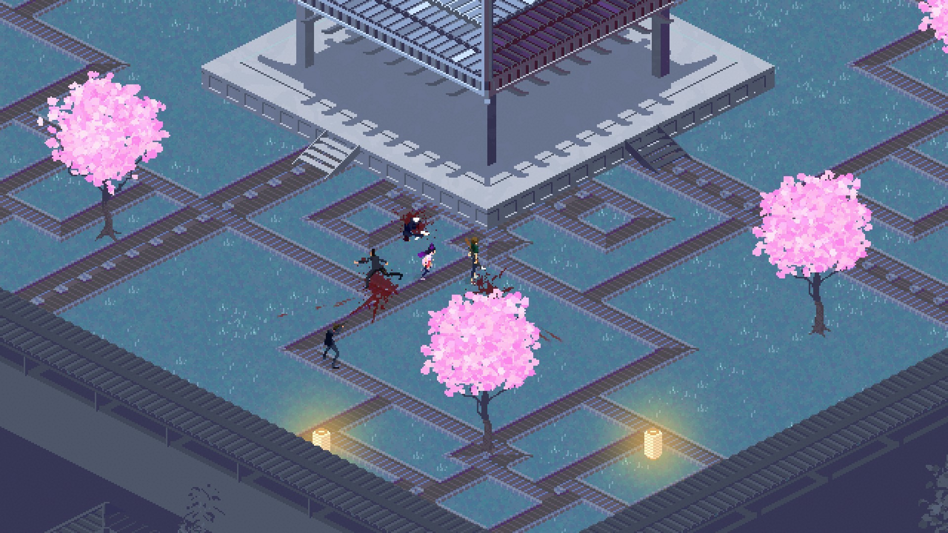 a tiny pixelated assassin runs around outside in the game Kate: Collateral Damage