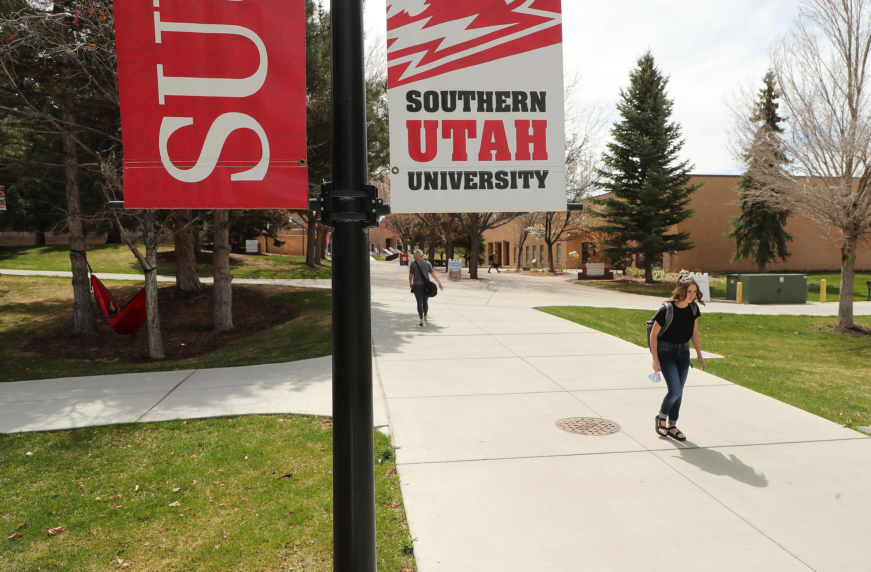 People walk on the Southern Utah University campus in Cedar City.