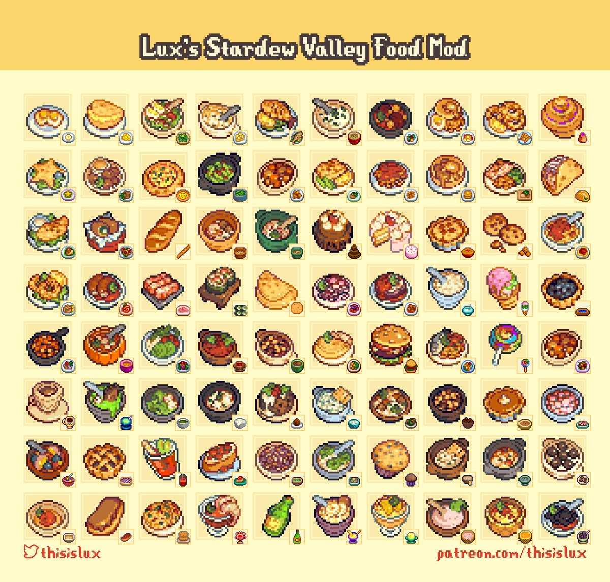 Redesigned meal sprites from Stardew Valley
