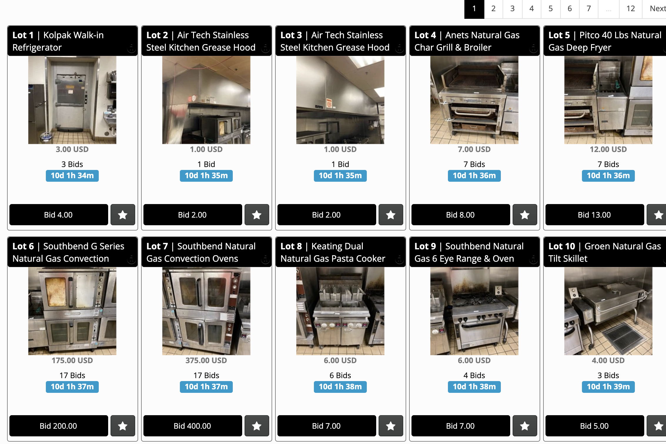 A website shows refrigerators, sinks, stoves up for auction