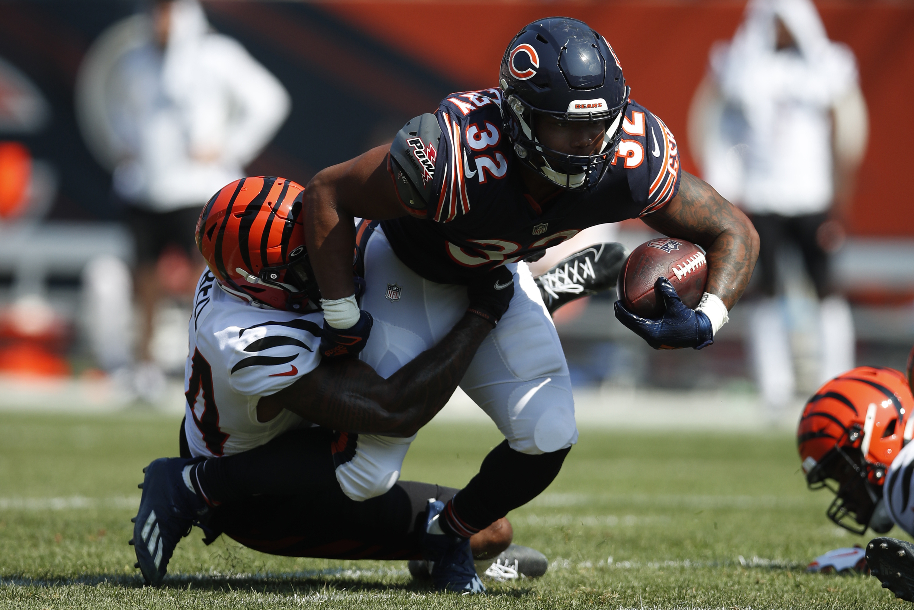 Bears running back David Montgomery (32) has rushed for 169 yards (4.7 yards per carry) and one touchdown this season.
