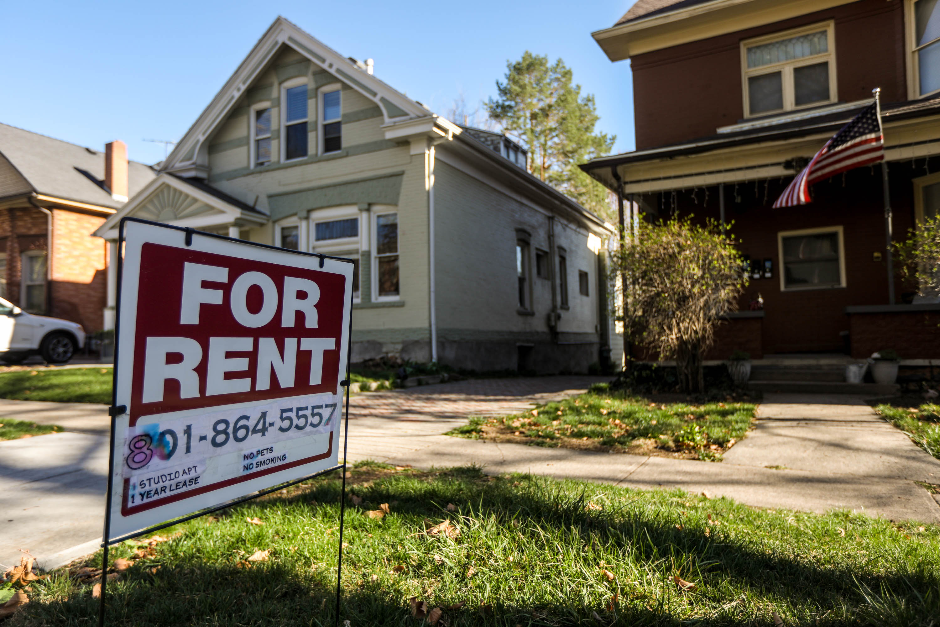 """A """"For Rent"""" sign is pictured in Salt Lake City on April 9, 2021."""