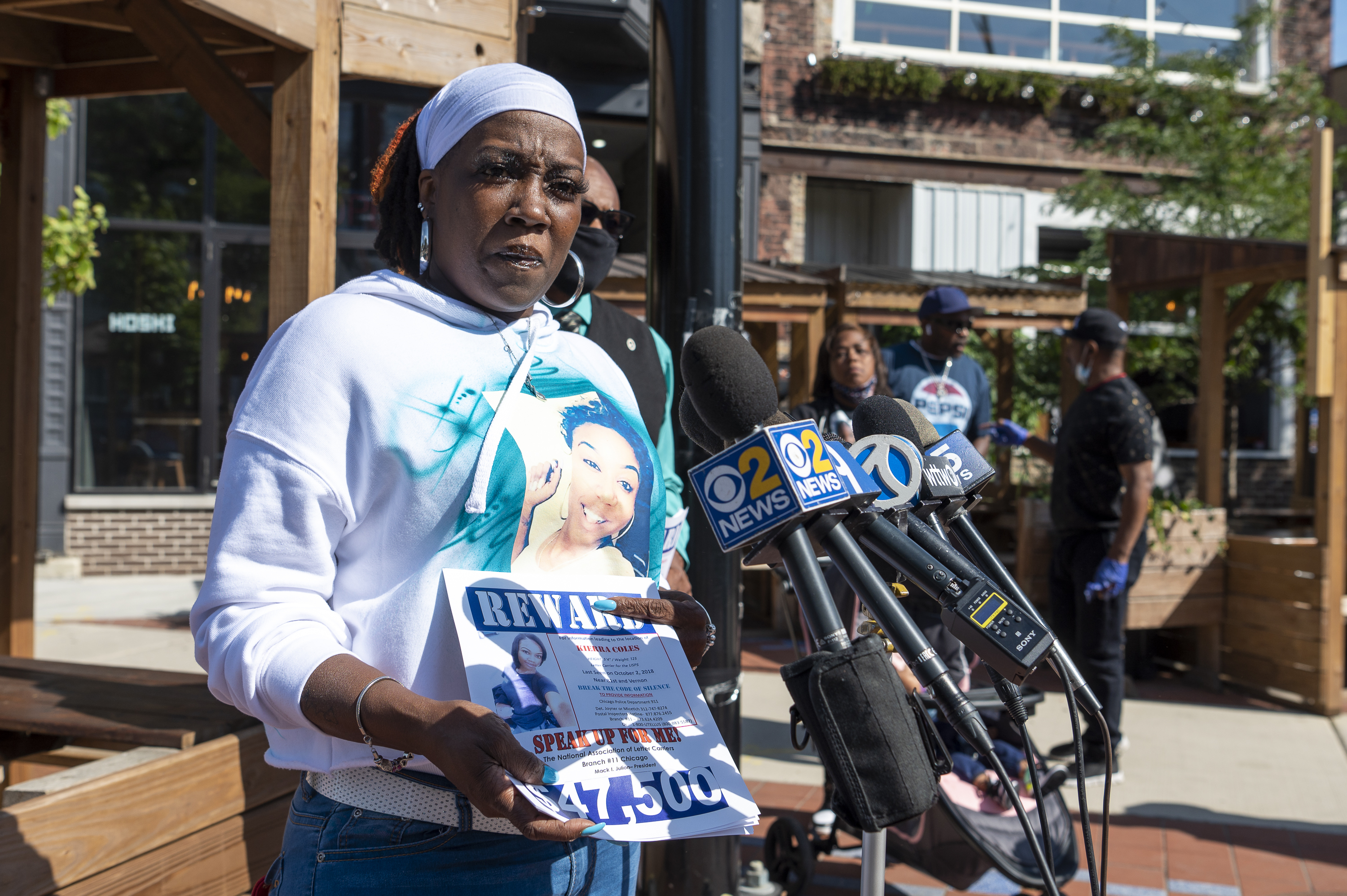 Karen Phillips, mother of Kierra Coles, speaks to reporters, during a birthday party and press conference for Kierra, Friday, Sept. 24, 2021. Kierra Coles was last seen in 2018.
