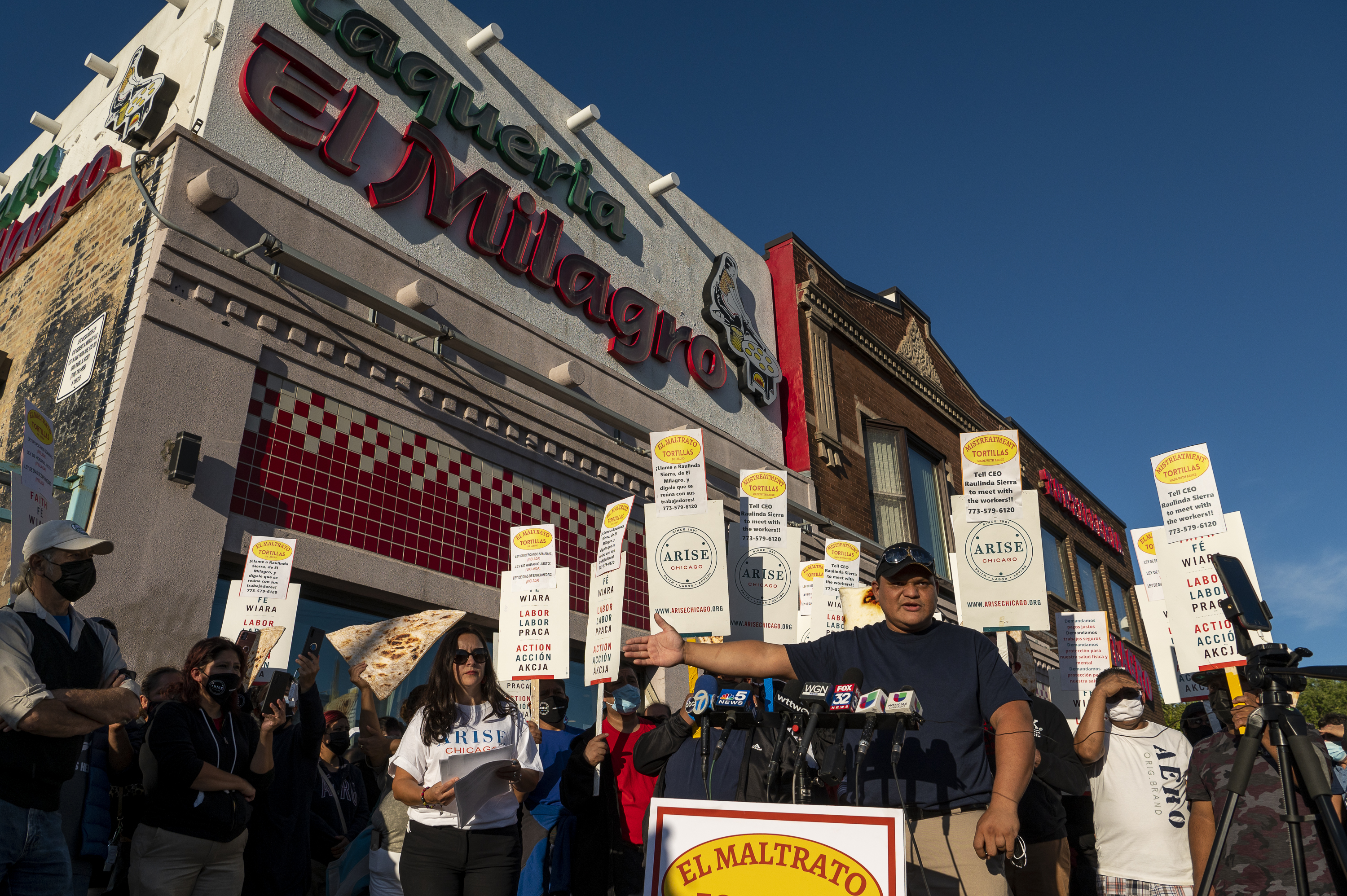 Luis Olivo, an El Milagro employee, worker along with other El Milagro workers from 21st Street and 31st Street speak to reporters in front of the El Milagro headquarters at 3050 W. 26th St. in the Little Village neighborhood, Thursday, Sept. 24, 2021. Workers walked off the job at both the Little Village and Pilsen production facilities over alleged poor working conditions.