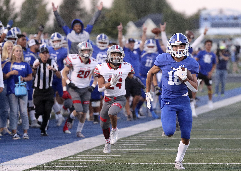 Bingham's Maddax Peck runs for a touchdown in a high school football game against Mountain Ridge at Bingham High School in South Jordan on Friday, Sept. 24, 2021. Bingham won 45-14.