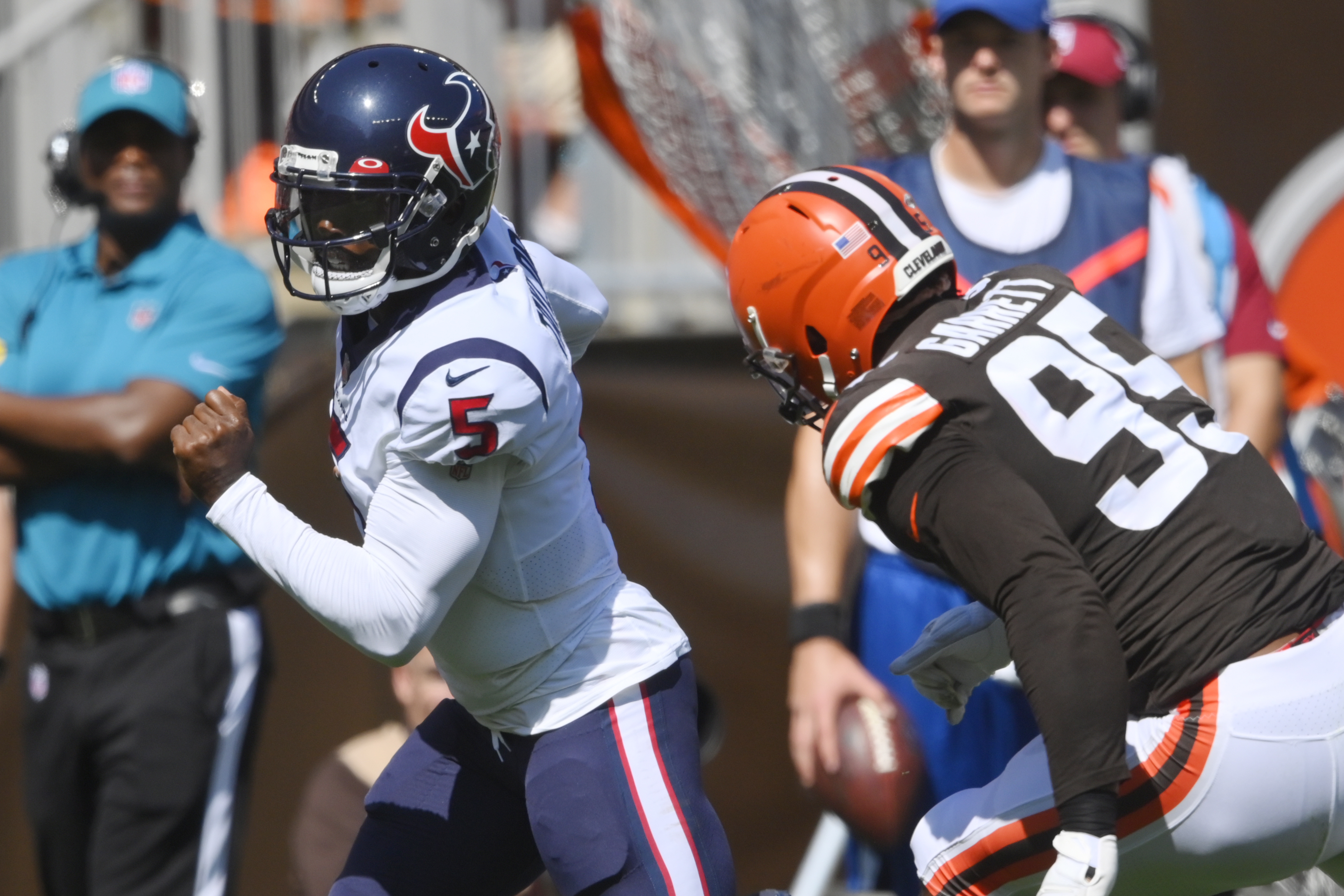 Browns defensive end Myles Garrett (95) has had 10 or more sacks the past three seasons and made the All-Pro team last year.
