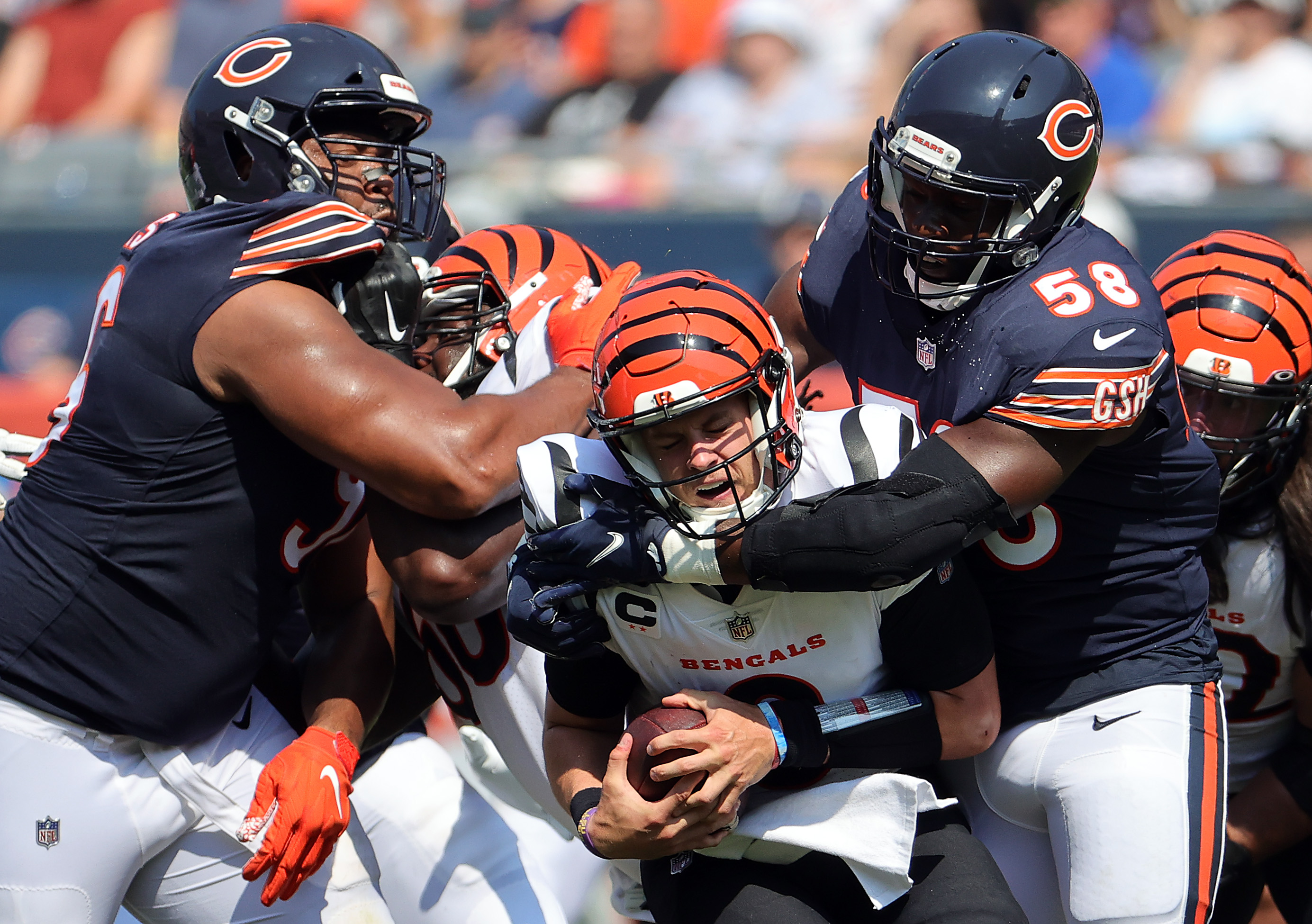 Bears linebacker Roquan Smith (58) sacks Bengals quarterback Joe Burrow (9) last Sunday at Soldier Field. The Bears had five sacks and four takeaways in a 20-17 victory.