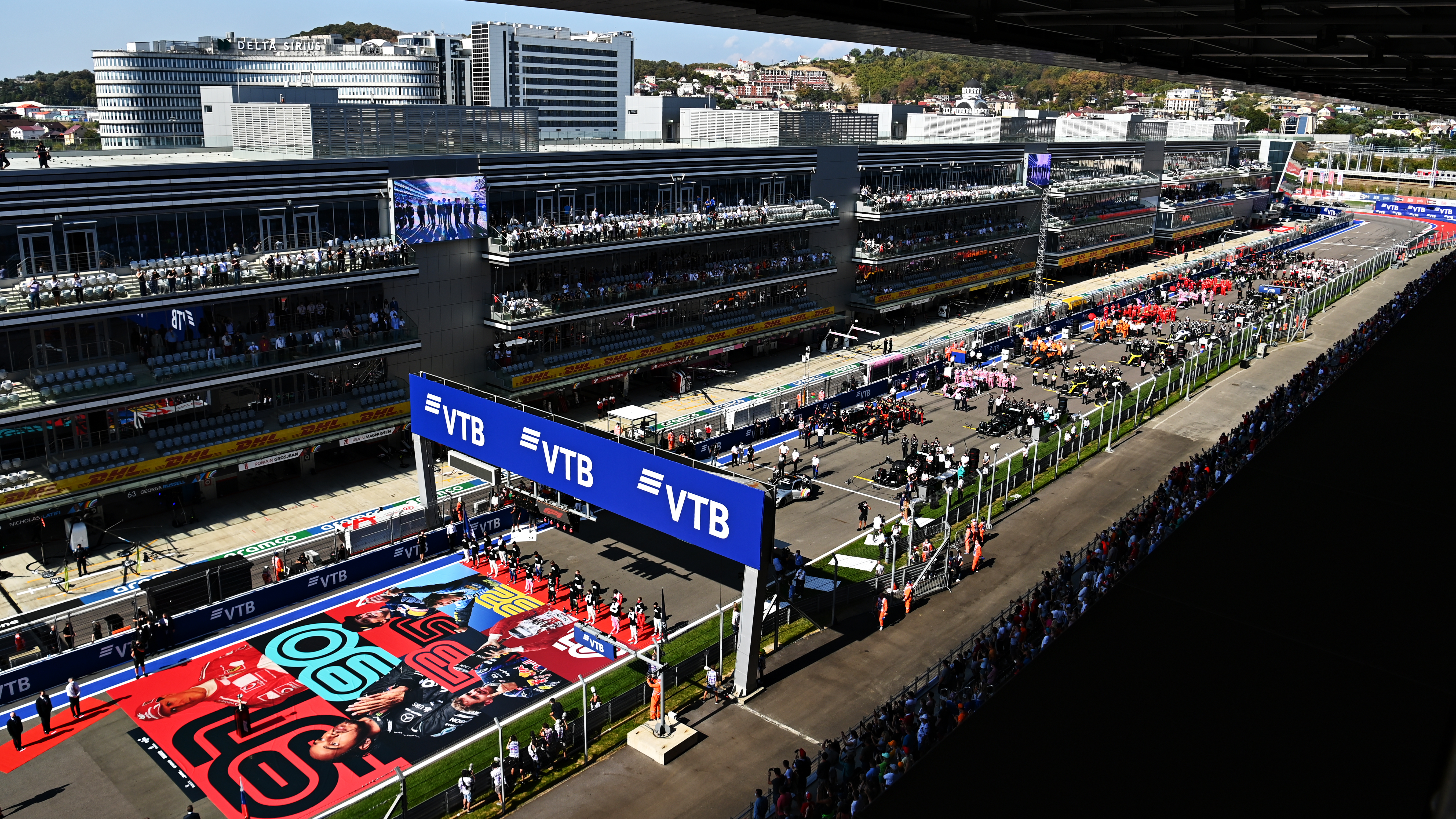 A general view over the grid before the F1 Grand Prix of Russia at Sochi Autodrom on September 27, 2020 in Sochi, Russia.