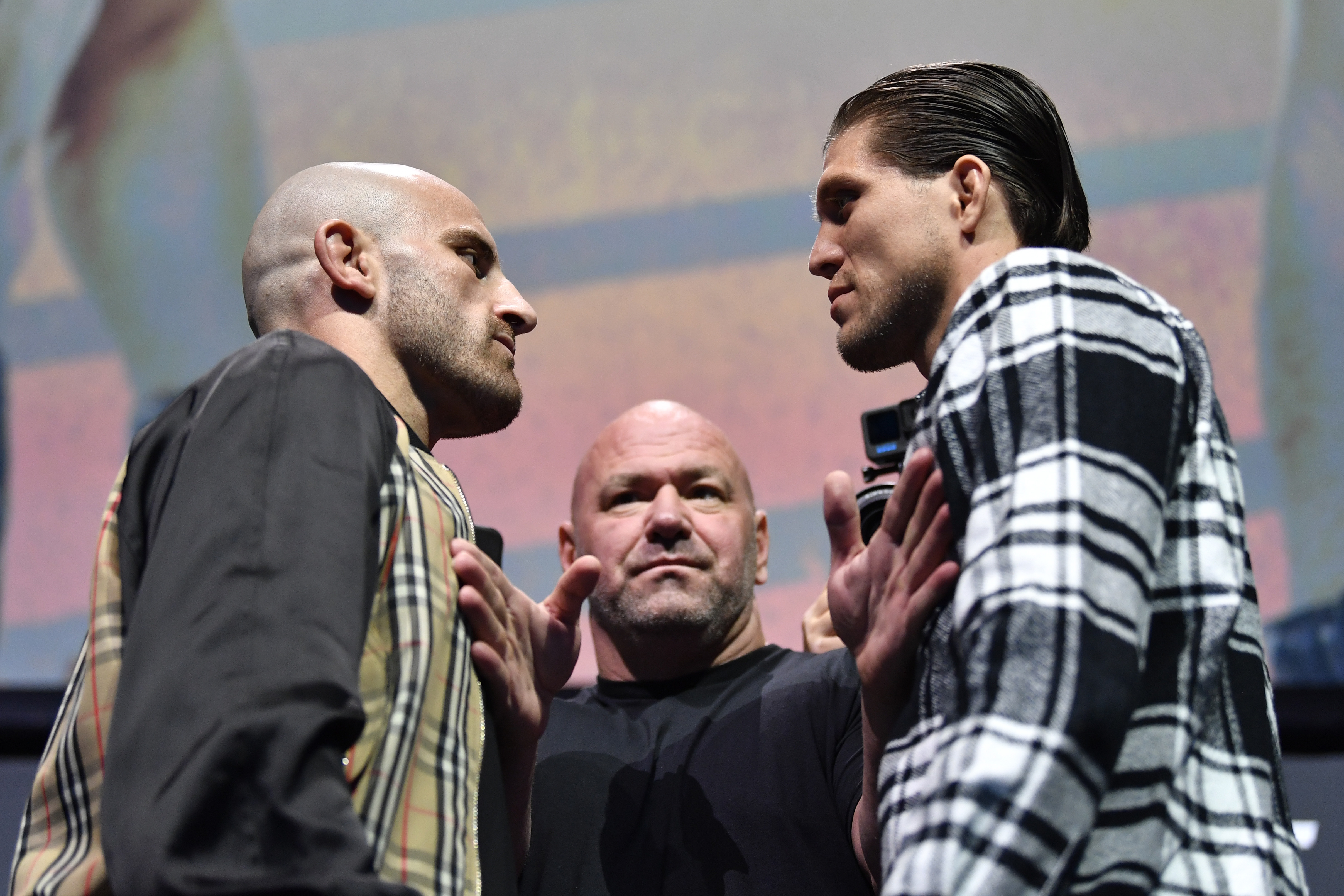 Alexander Volkanovski of Australia and Brian Ortega face off during the UFC 266 Press Conference at Park Theater at Park MGM on September 23, 2021 in Las Vegas, Nevada