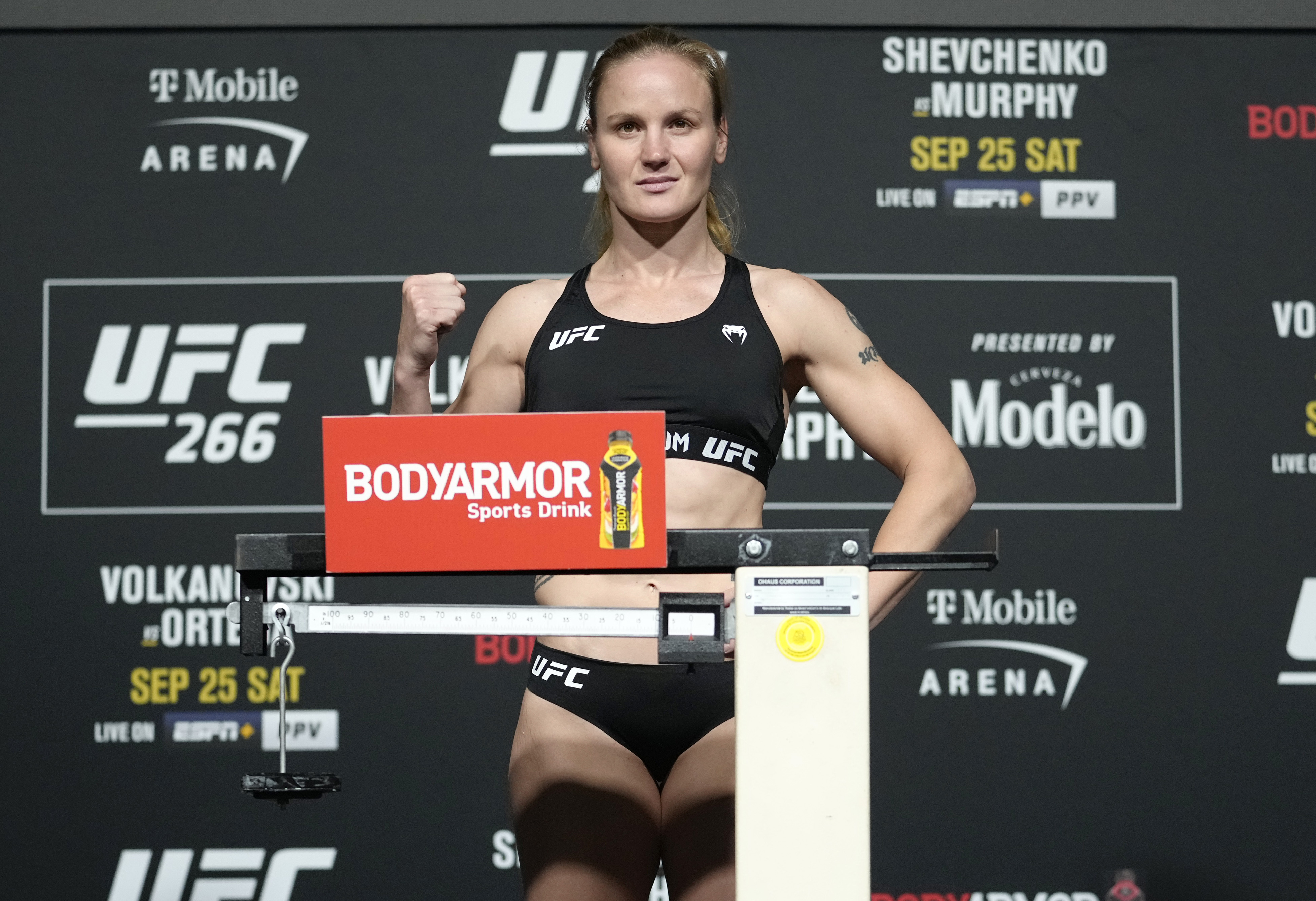 Valentina Shevchenko of Kyrgyzstan poses on the scale during the UFC 266 official weigh-in at UFC APEX on September 24, 2021 in Las Vegas, Nevada.