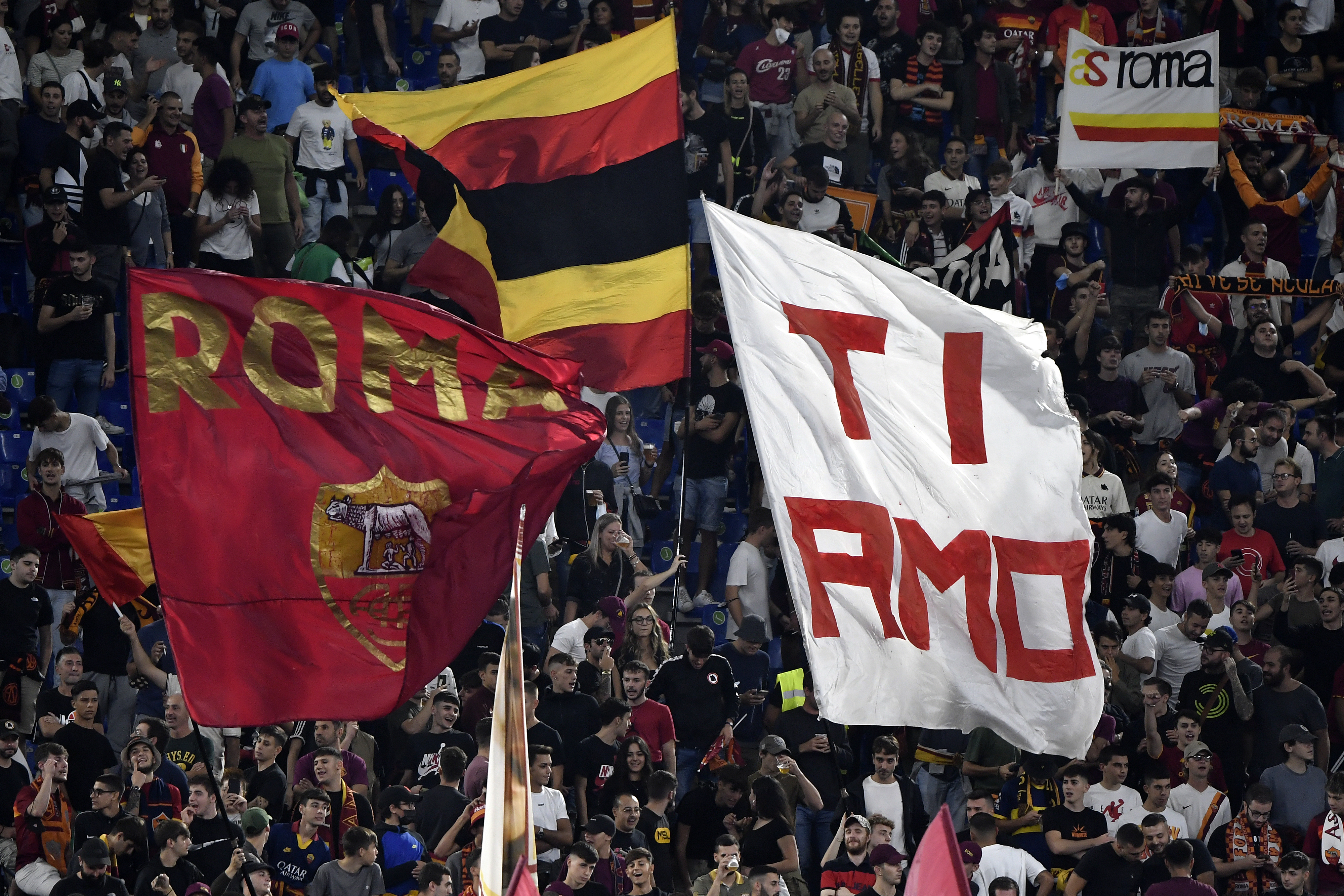 AS Roma fans cheer on during the Serie A football match...