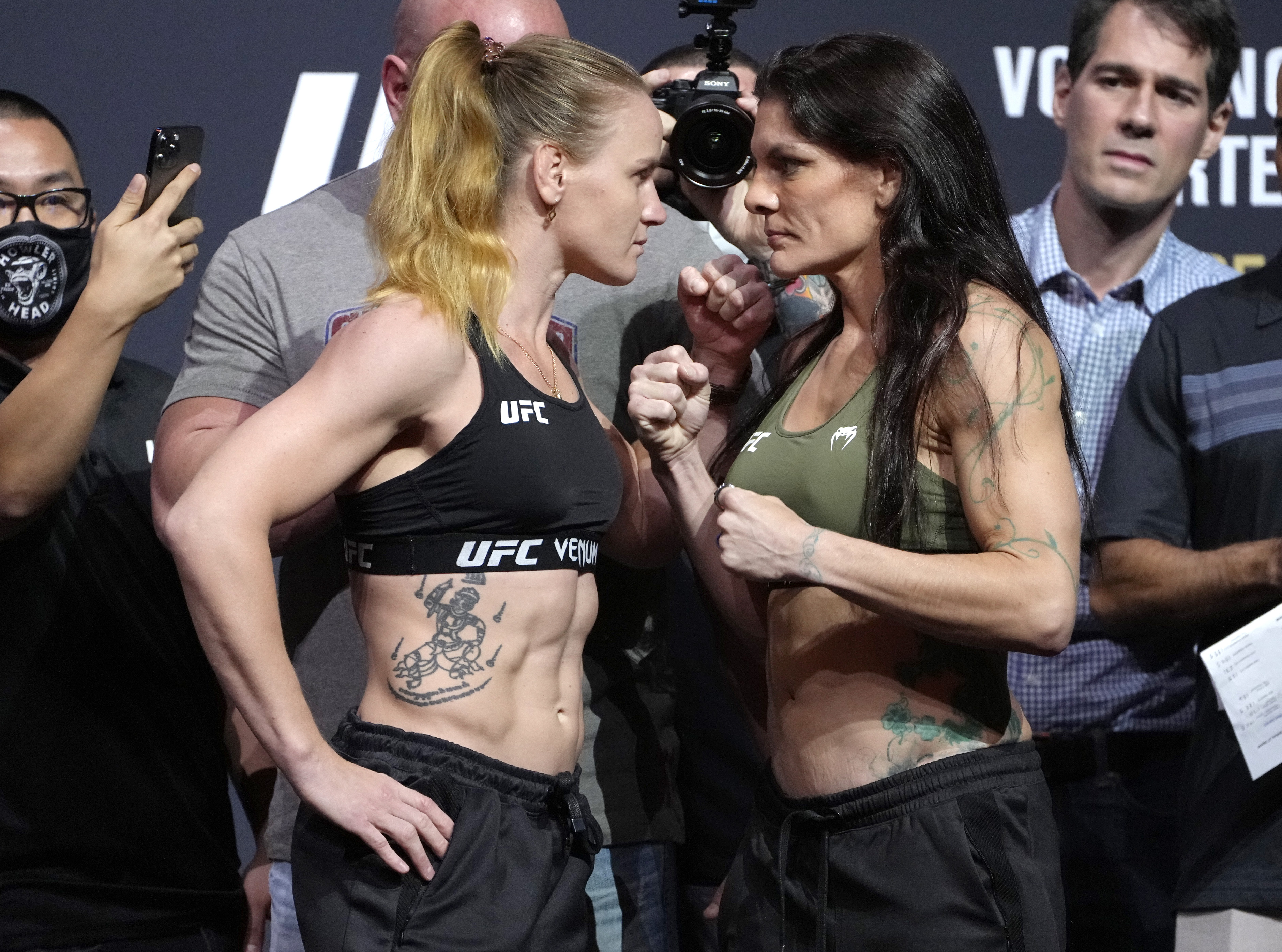 Opponents Valentina Shevchenko of Kyrgyzstan and Lauren Murphy face off during the UFC 266 ceremonial weigh-in at Park Theater on September 24, 2021 in Las Vegas, Nevada.