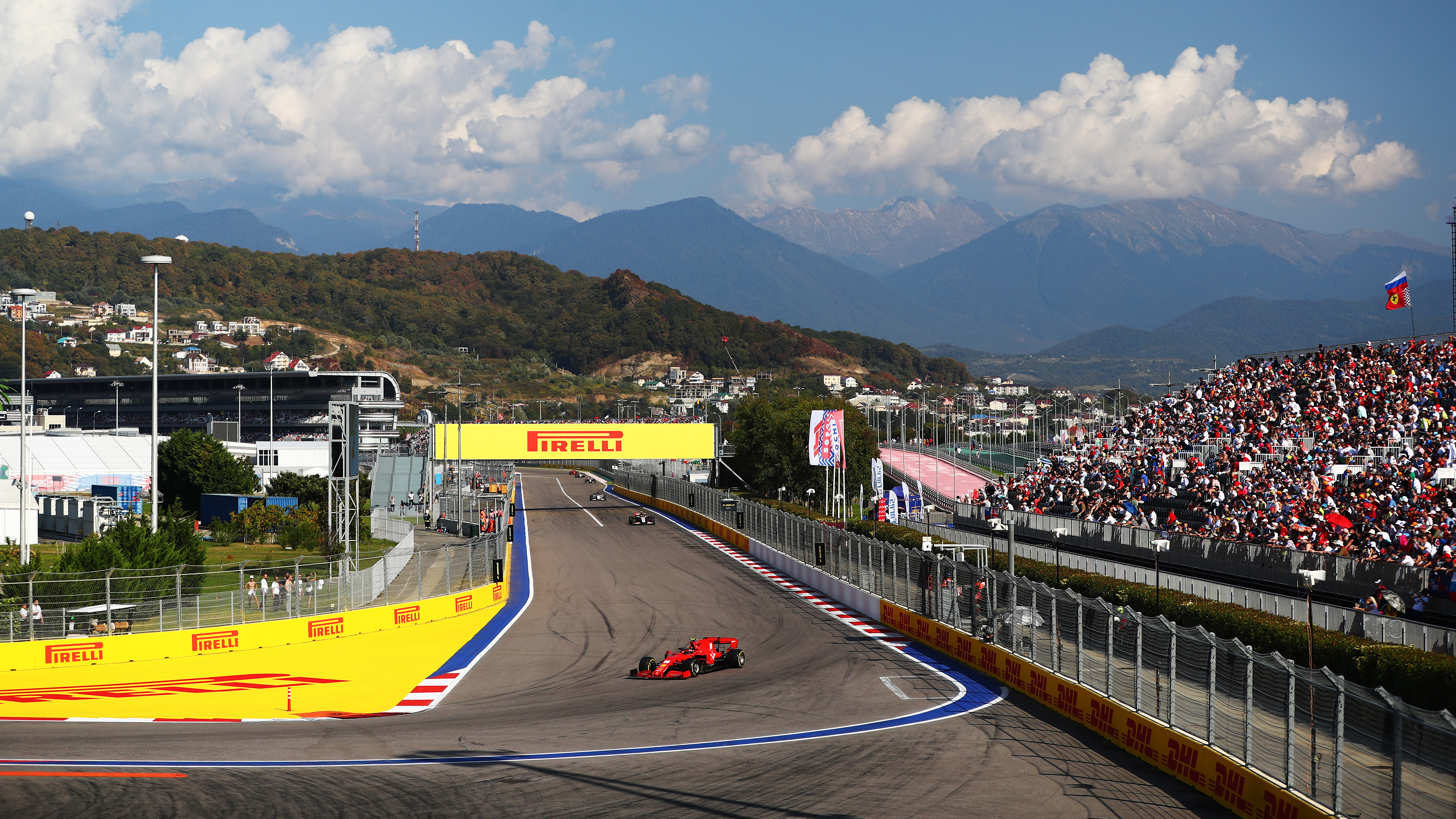 A general view as Charles Leclerc of Monaco is seen driving the (16) Scuderia Ferrari SF1000 on track during the F1 Grand Prix of Russia at Sochi Autodrom on September 27, 2020 in Sochi, Russia.