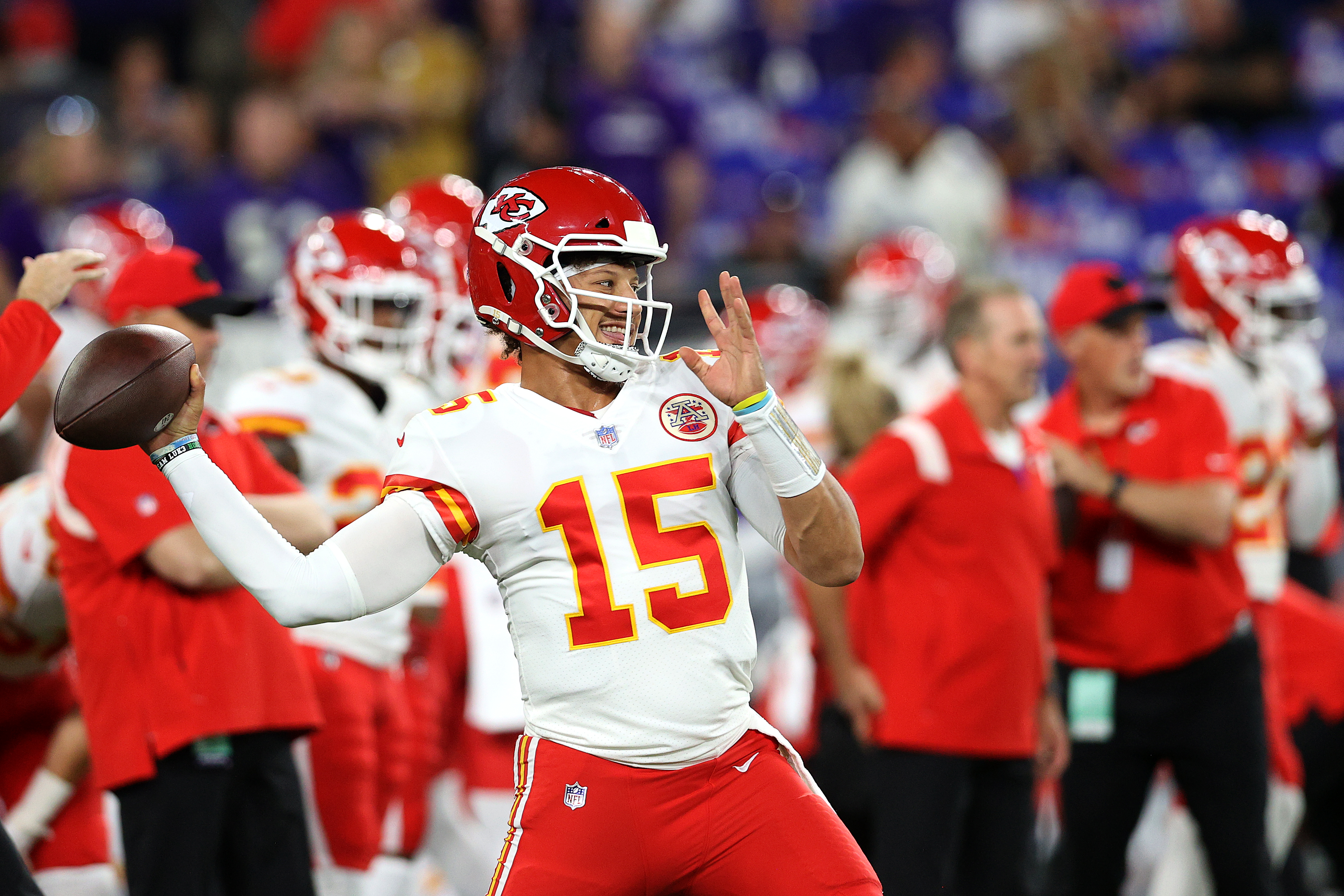 Quarterback Patrick Mahomes #15 of the Kansas City Chiefs warms up against the Baltimore Ravens at M&T Bank Stadium on September 19, 2021 in Baltimore, Maryland.