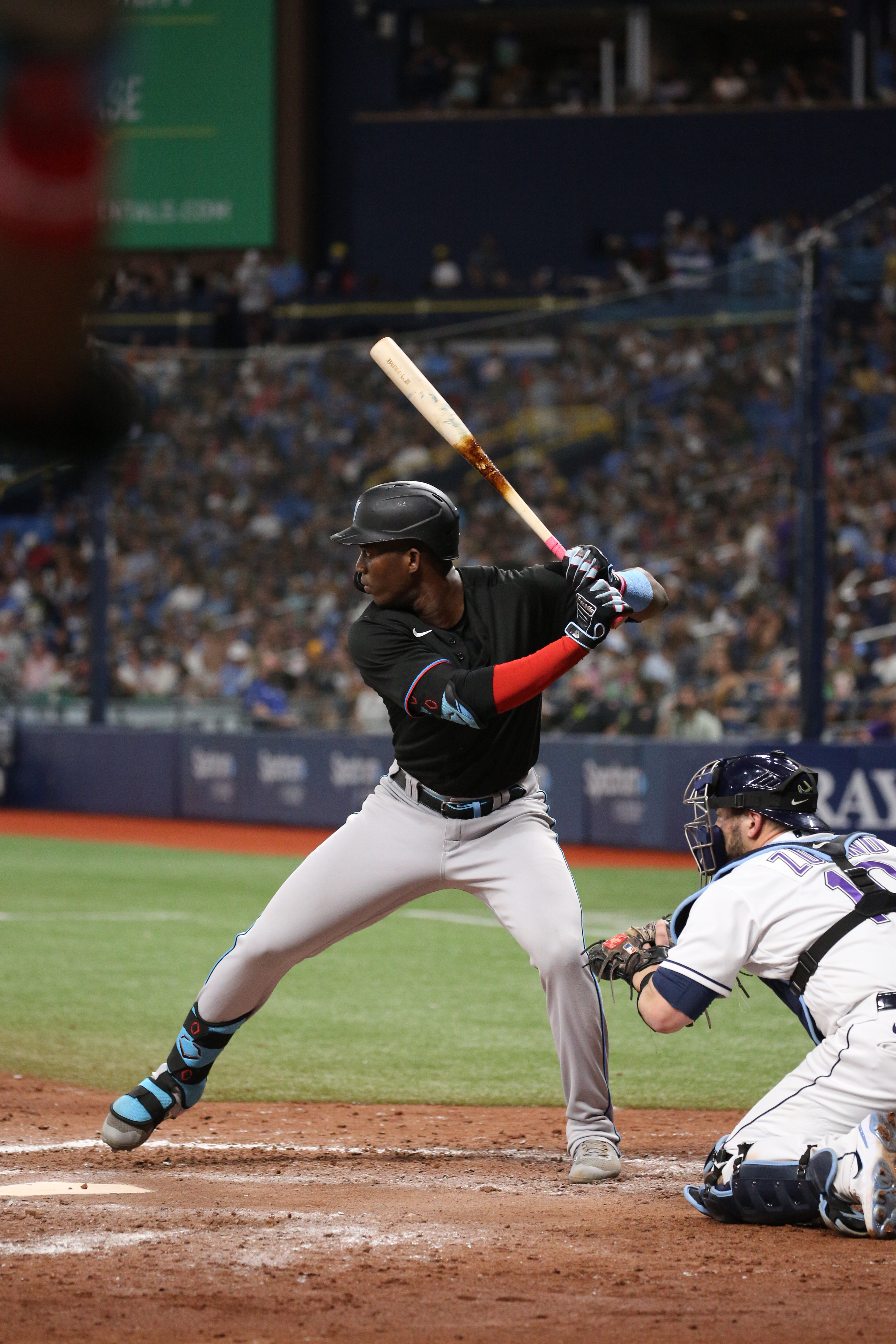 Jesus Sanchez #76 of the Miami Marlins bats in the top of the fifth inning against the Tampa Bay Rays at Tropicana Field