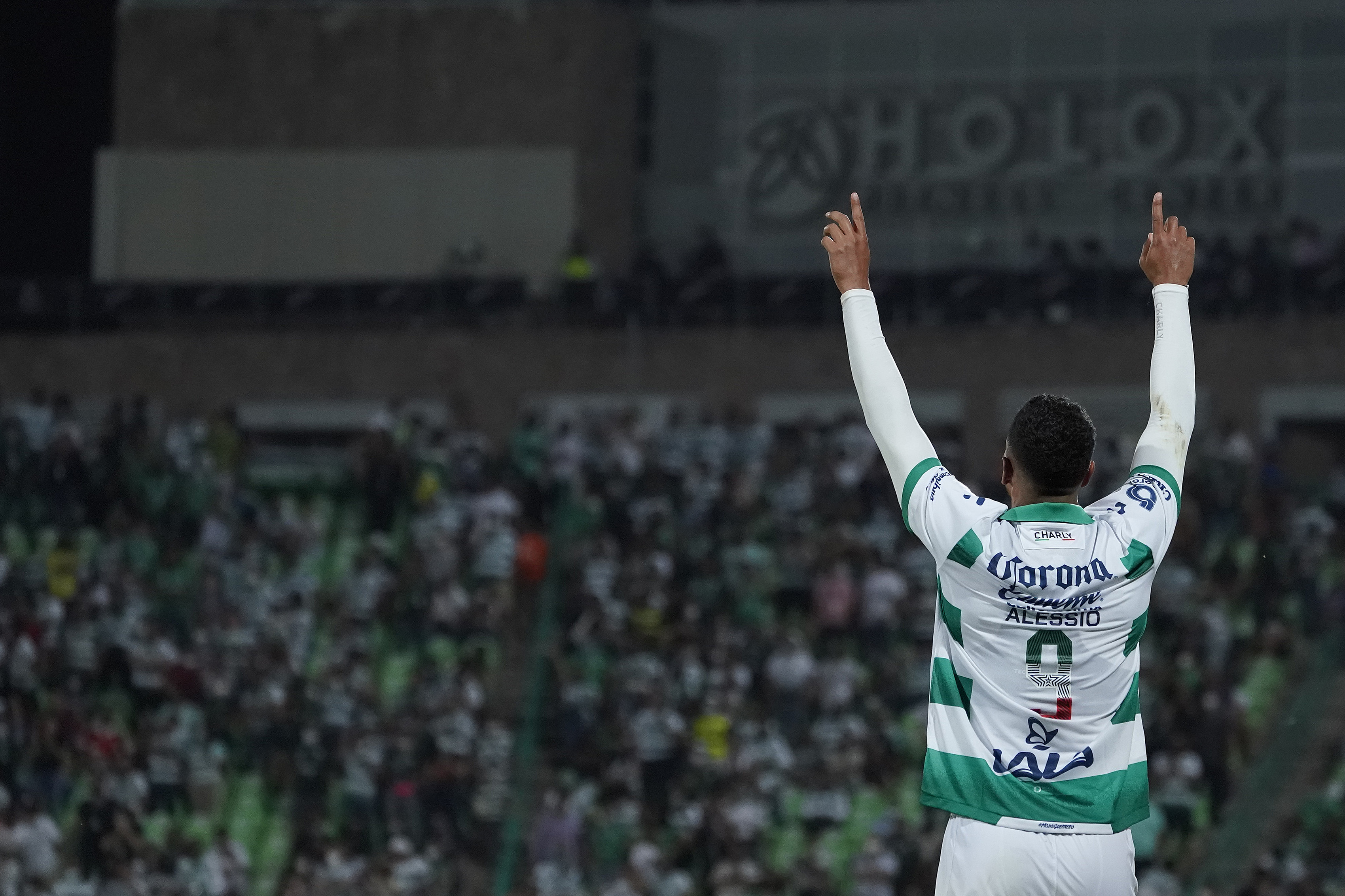Alessio Da Cruz of Santos celebrates after scoring his team's first goal during the 9th round match between Santos Laguna and Puebla as part of the Torneo Grita Mexico A21 Liga MX at Corona Stadium on September 19, 2021 in Torreon, Mexico.