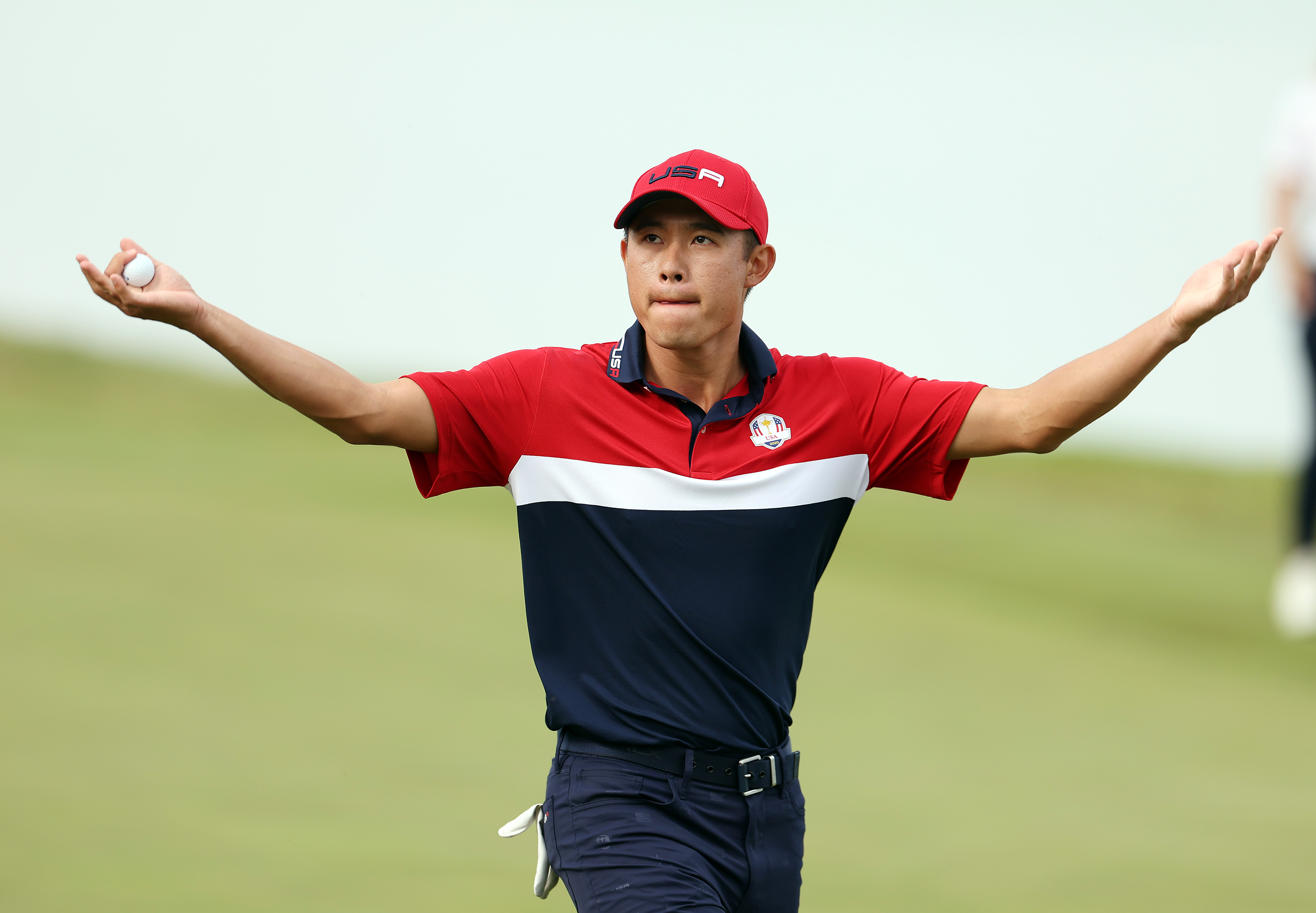 Collin Morikawa celebrates on the 17th green after winning the hole to guarantee the United States the victory at the Ryder Cup in Kohler, Wisconsin.