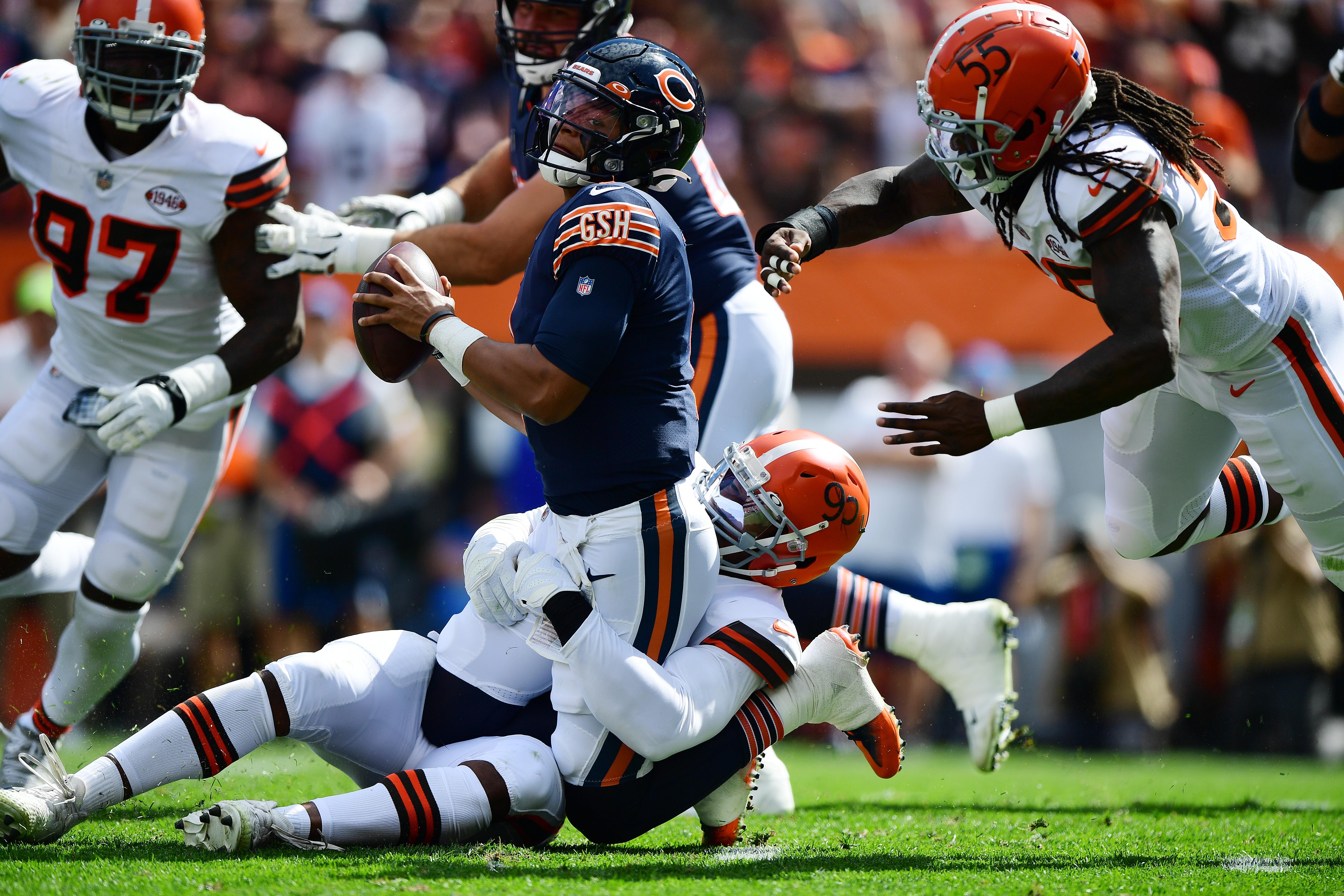 Bears quarterback Justin Fields was sacked nine times Sunday.