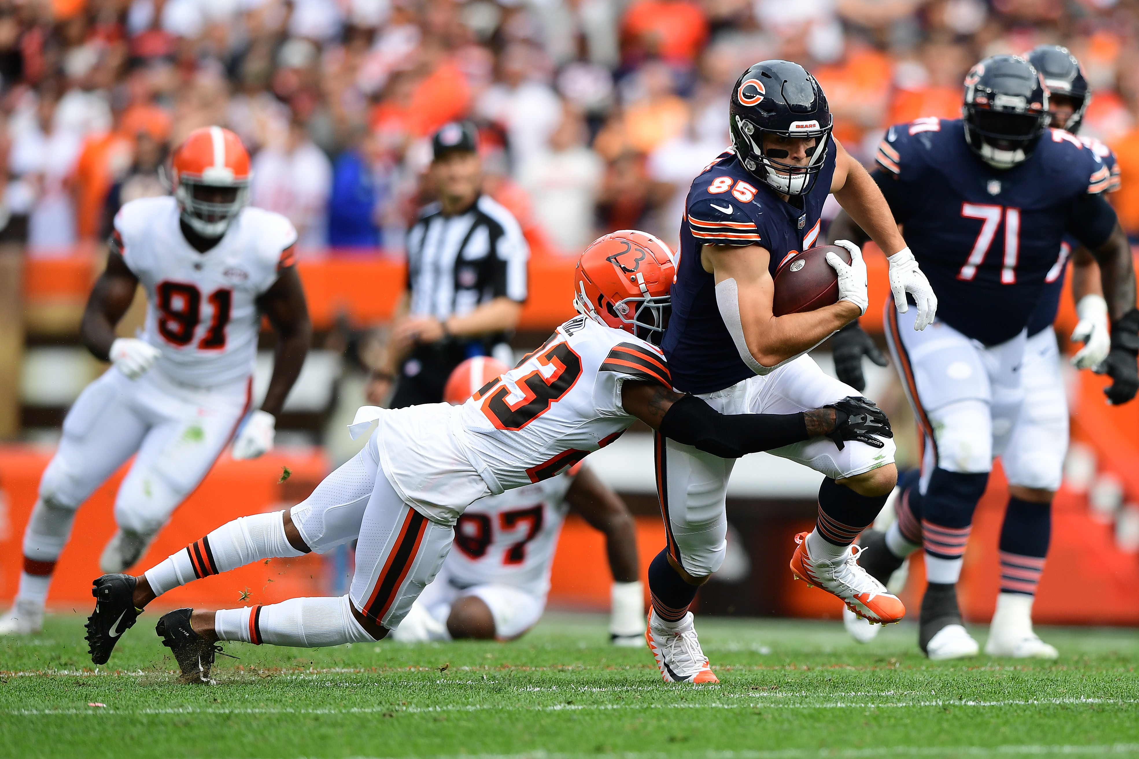 This 11-yard catch by Cole Kmet was the only one by the Bears' tight ends Sunday.