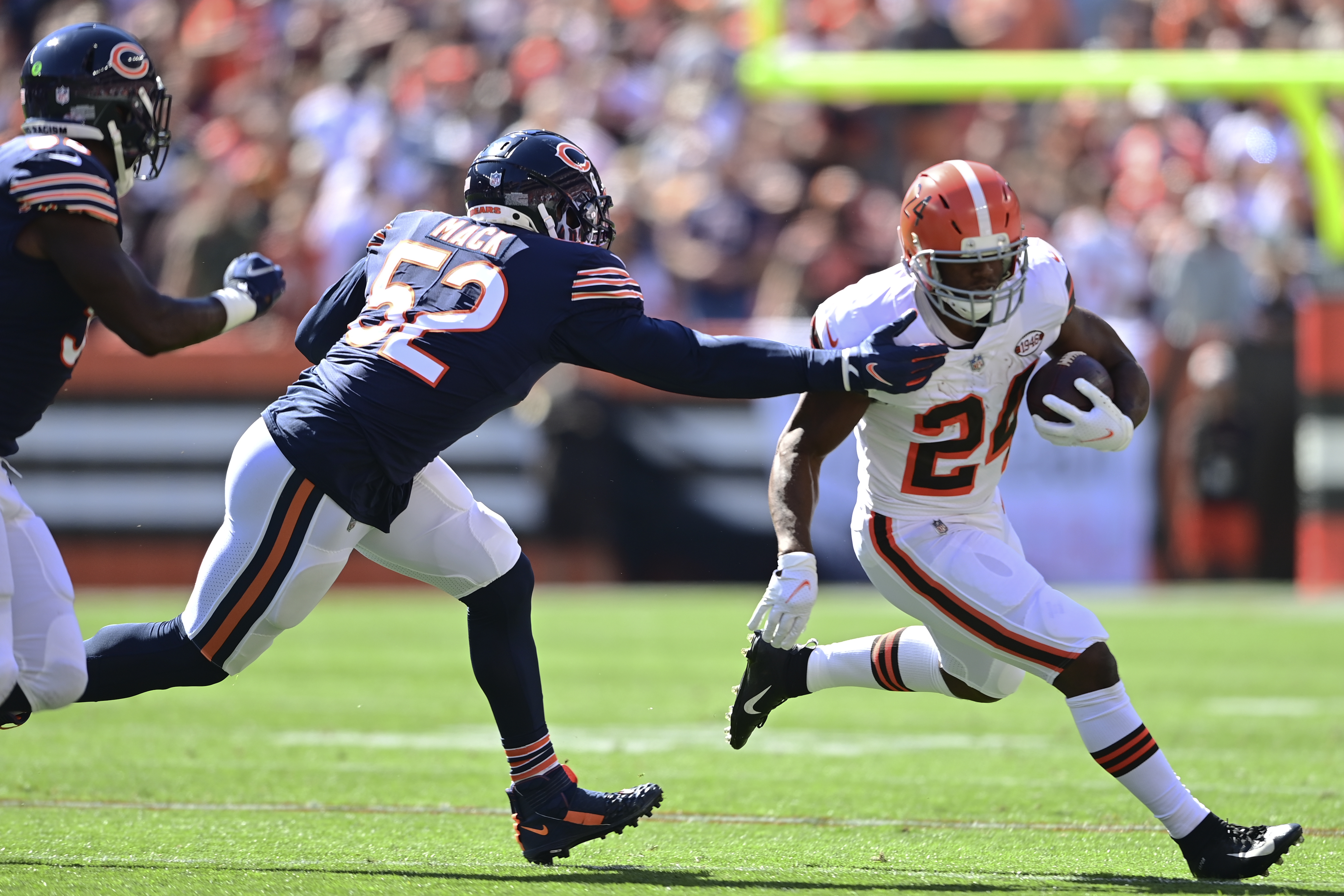 Bears outside linebacker Khalil Mack sprained his foot Sunday.
