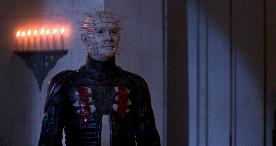 Hellraiser 3: Hell on Earth: Pinhead walks in a cathedral lit by candles