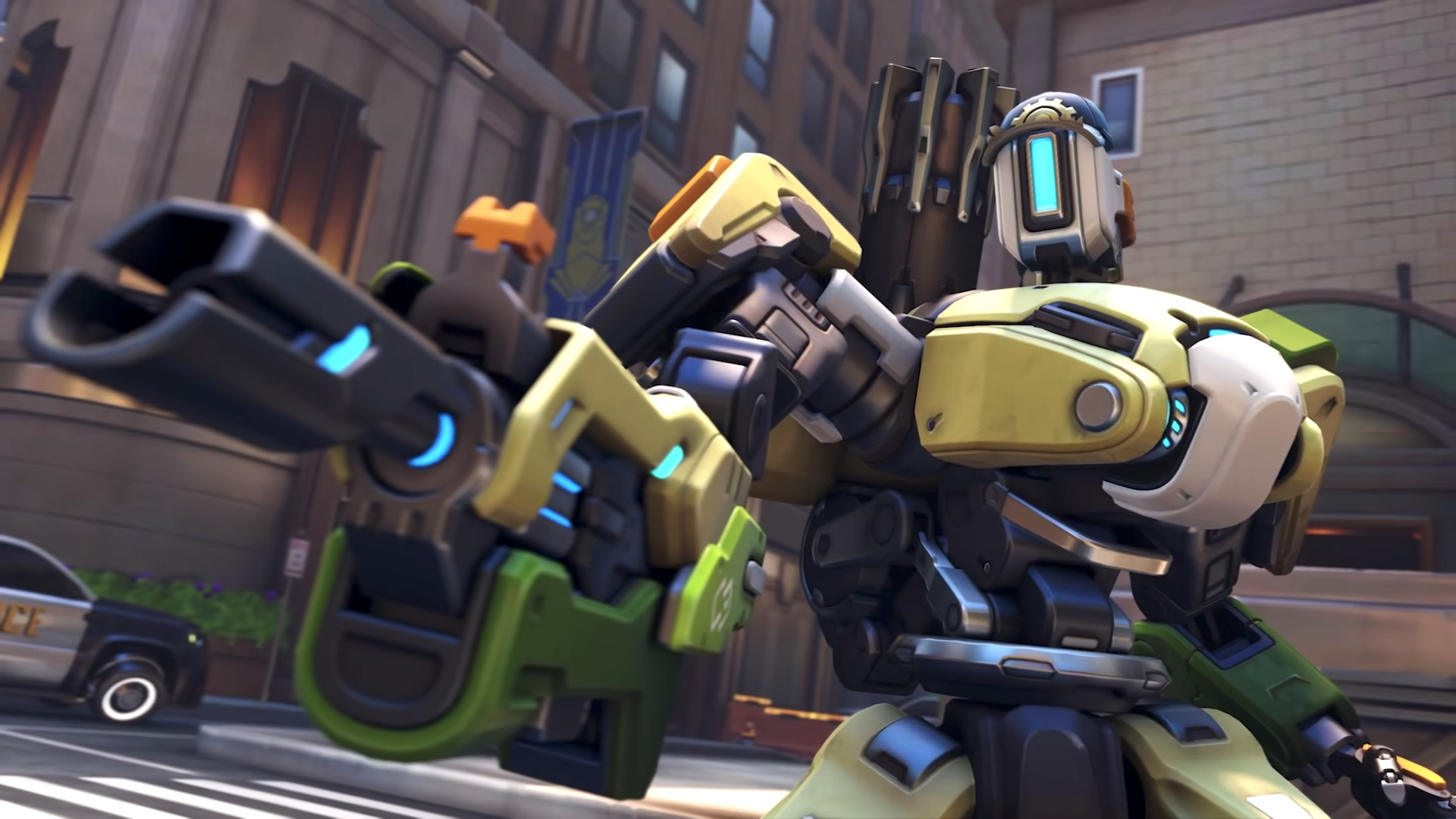 Bastion poses in a still from Overwatch 2