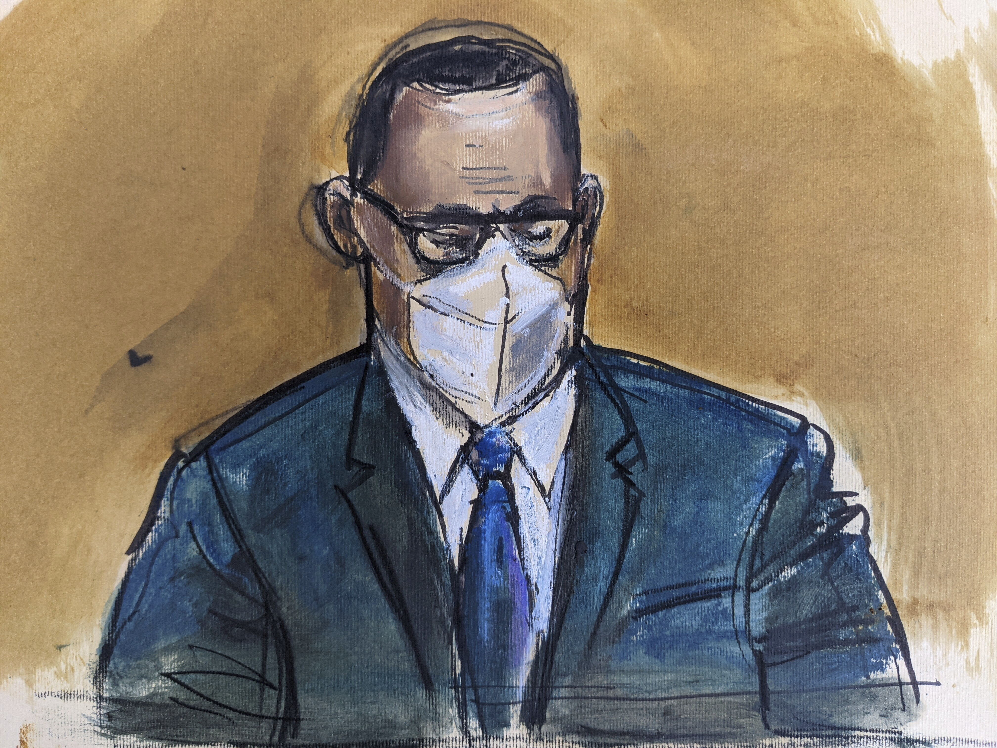 """In this courtroom sketch, R. Kelly listens as the jury foreperson reads the verdict, Monday, Sept. 27, 2021, in New York. The R&B superstar known for his anthem """"I Believe I Can Fly,"""" was convicted in a sex trafficking trial after decades of avoiding criminal responsibility for numerous allegations of misconduct with young women and children."""