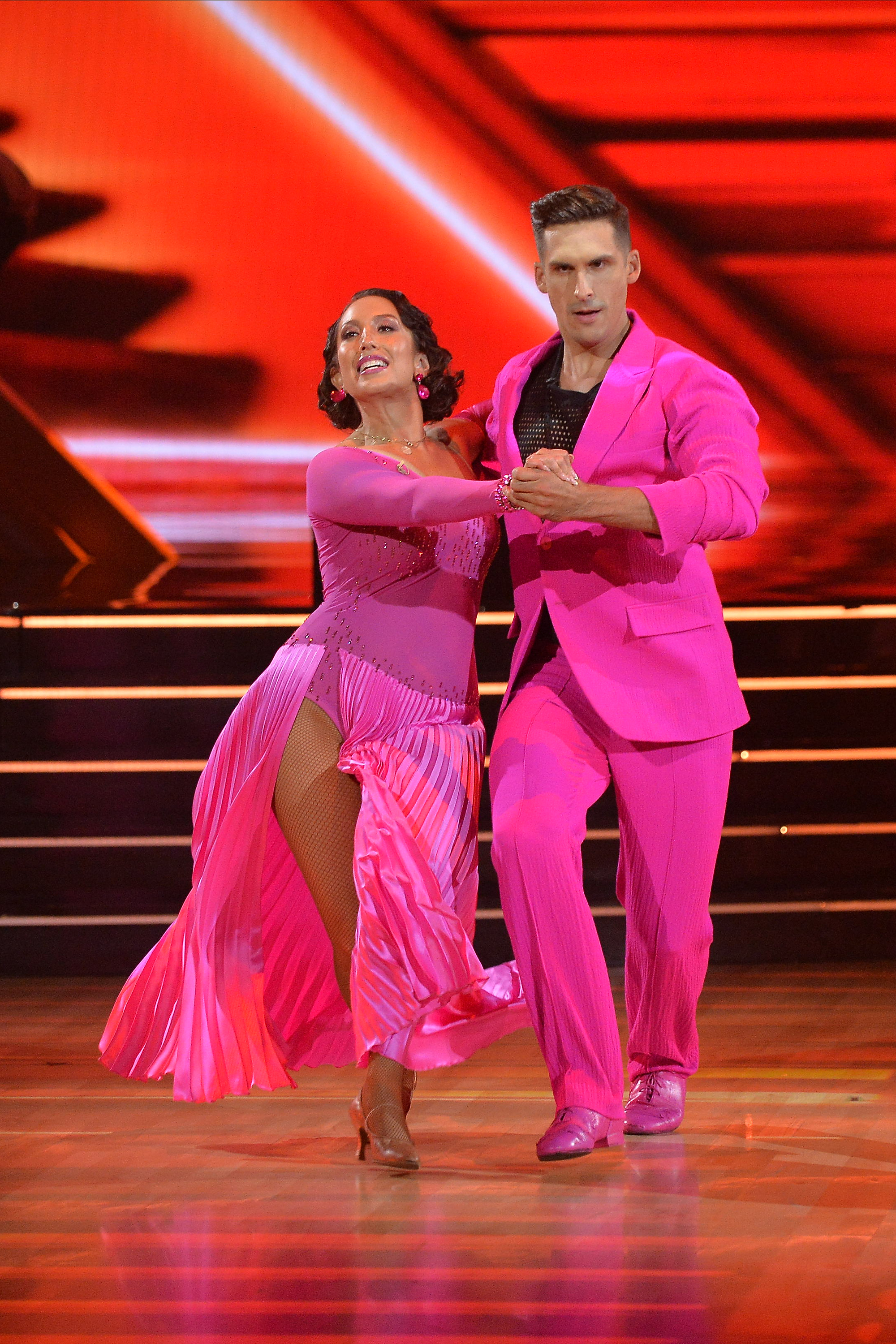 """Cheryl Burke and Cody Rigsby compete on episode one Season 30 of """"Dancing with the Stars."""" Burke tested positive for COVID-19 and will quarantine for 10 days."""
