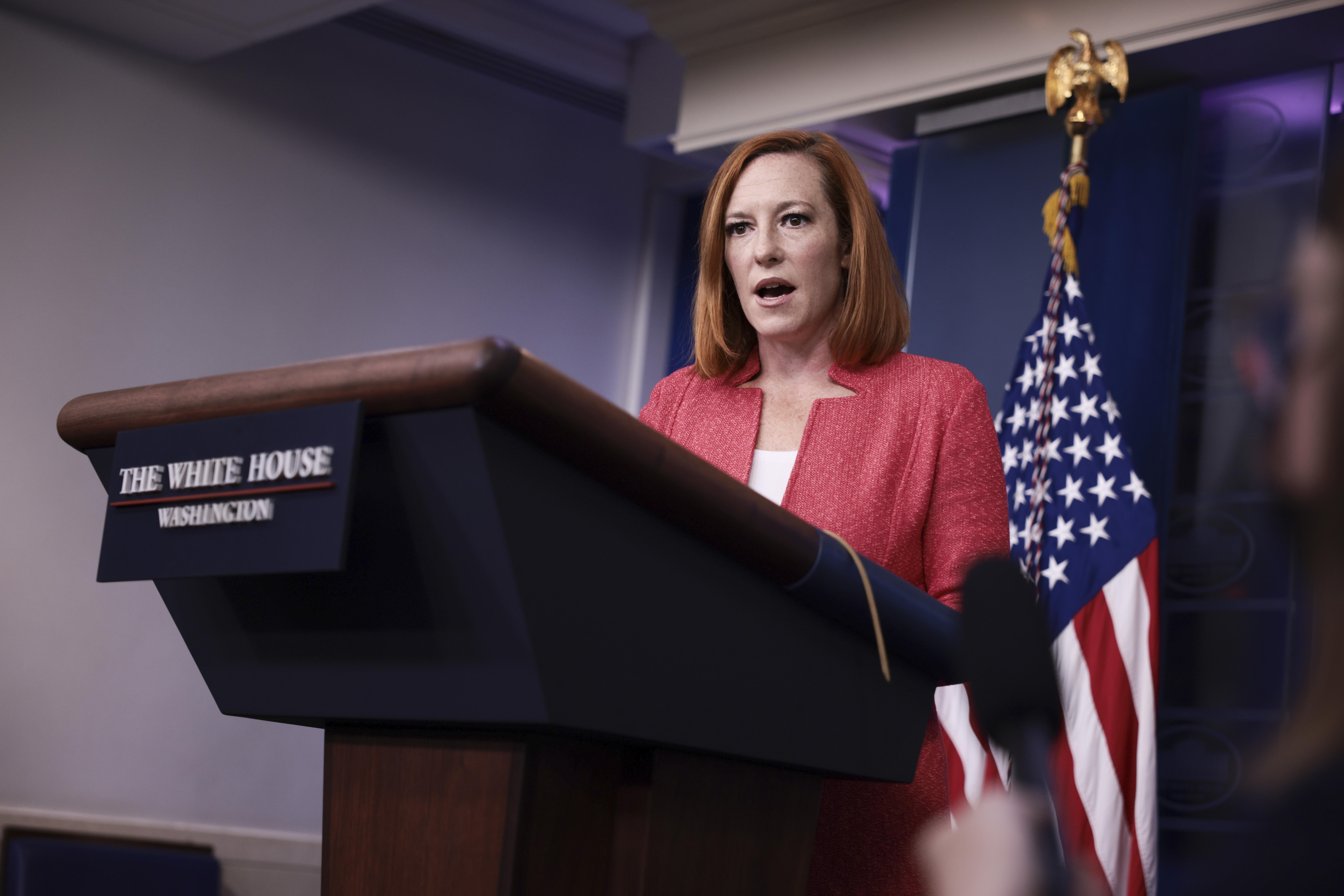Press Secretary Jen Psaki Briefs White House Media