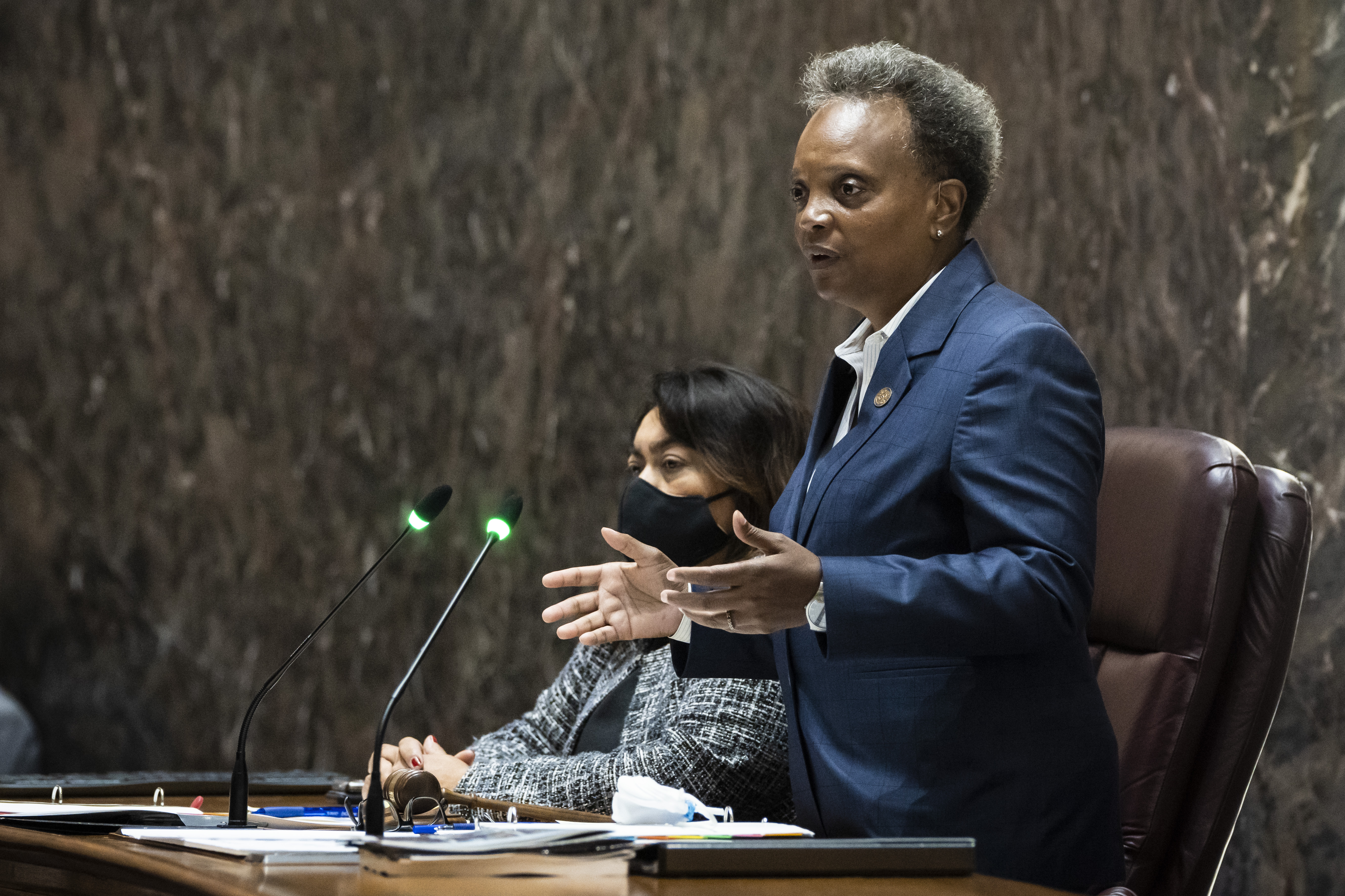 Mayor Lori Lightfoot presides over a Chicago City Council meeting at City Hall, Monday morning, Sept. 20, 2021.