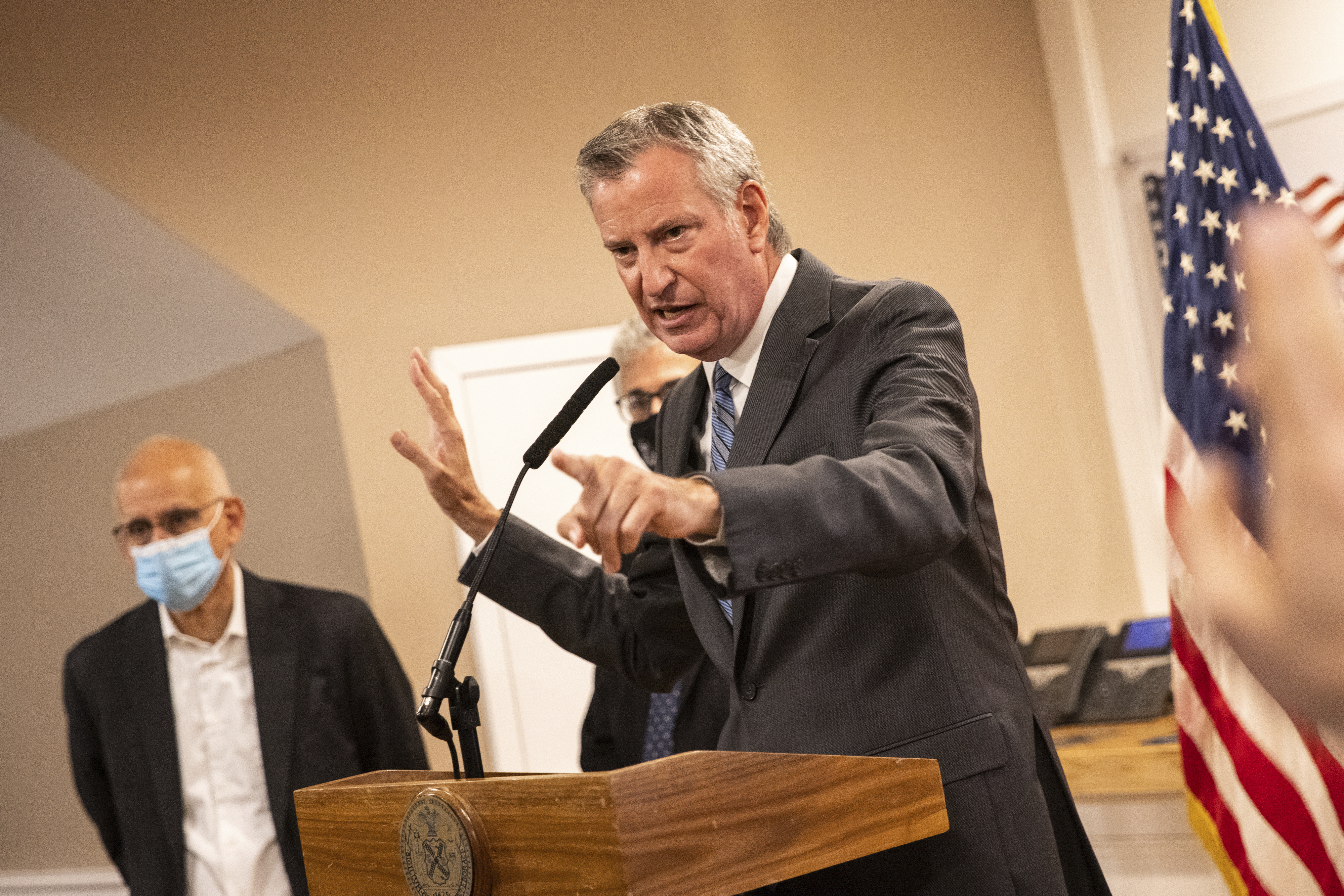 New York City mayor Bill de Blasio speaks during a news conference at the Rikers Island on Monday, Sept. 27, 2021, in New York.