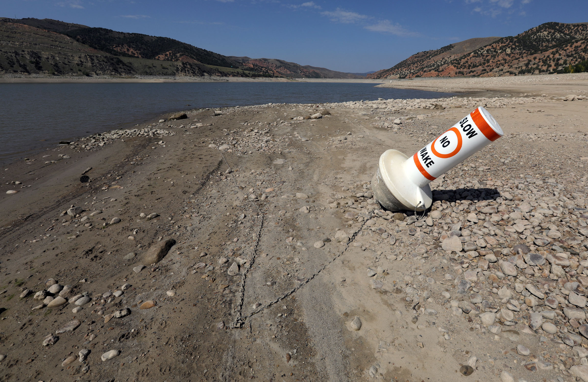 A grounded buoy at Echo State Park in Utah.