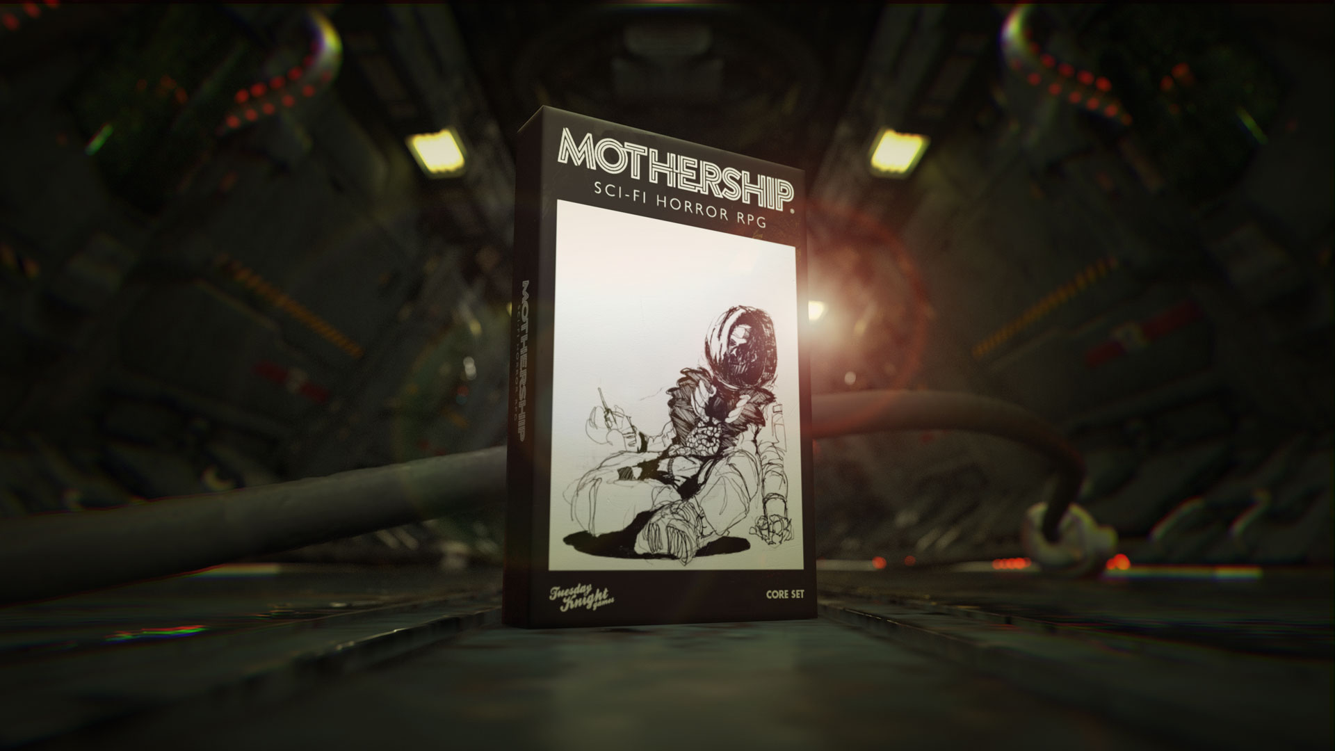 A black and white image of a dead astronaut, his chest exploded, adorns the black and white box of Mothership.