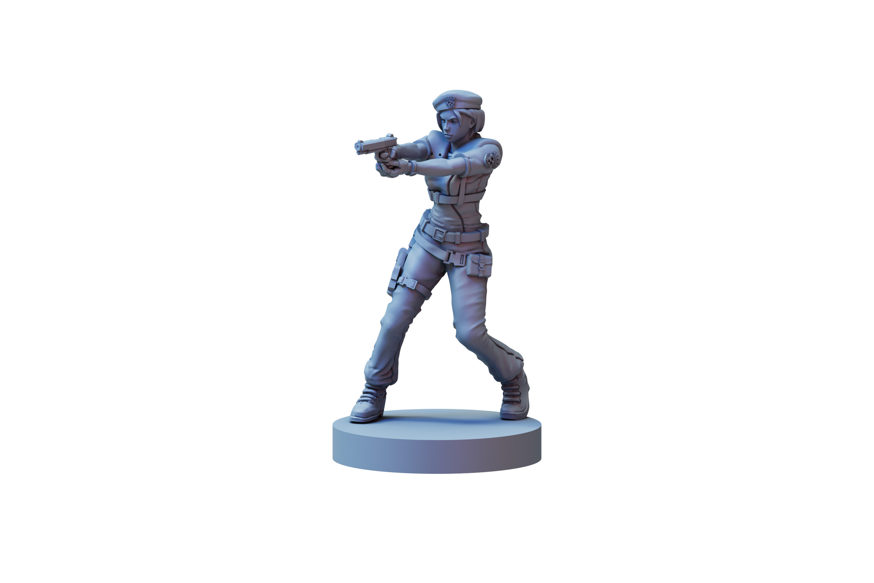 A female member of the STARS team holding a pistol.