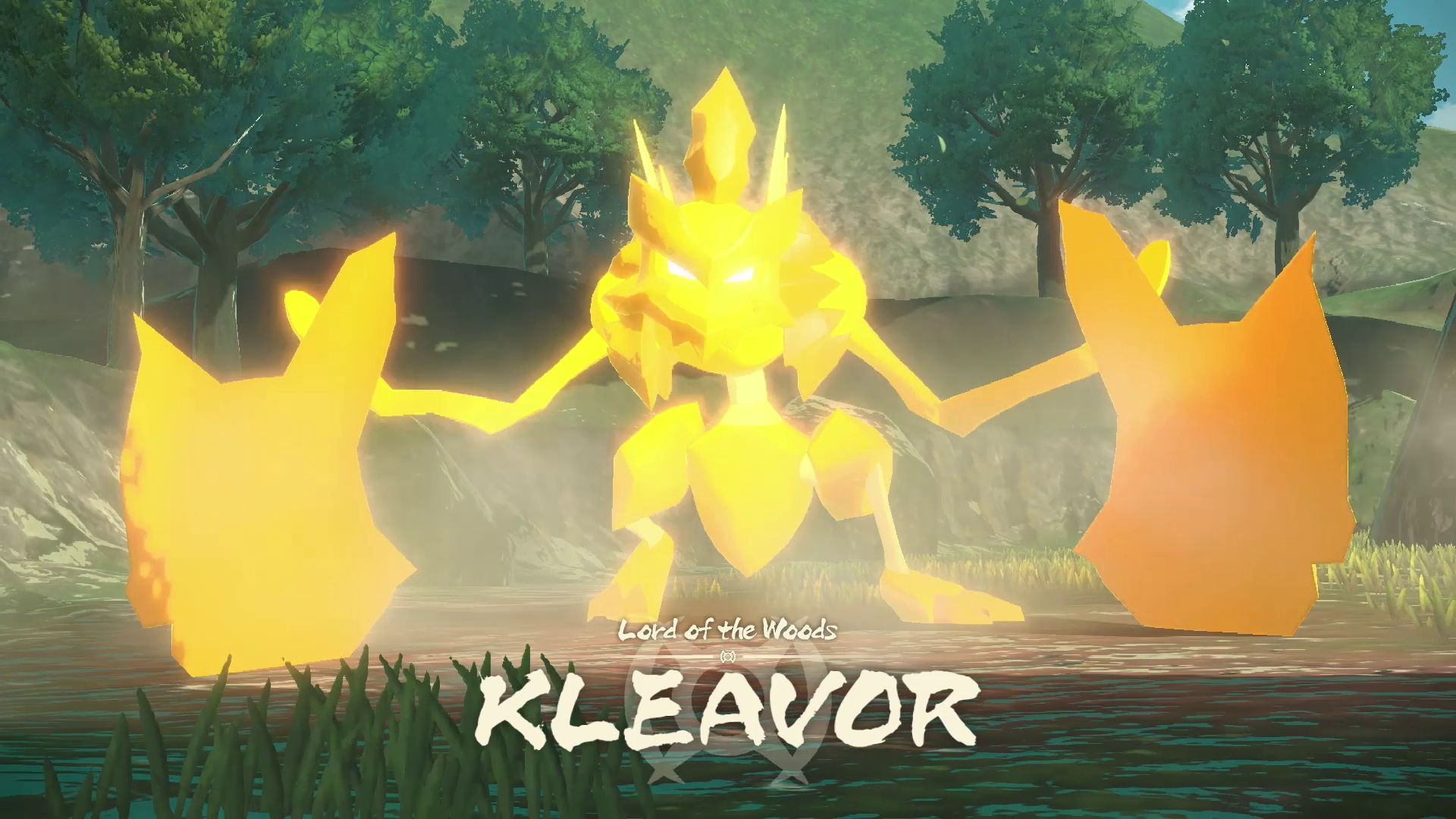 Kleavor, an evolution of Scyther, debuts in Pokémon Legends: Arceus. The formidable Pokémon has large, axe-like hands and has survived many battles with them