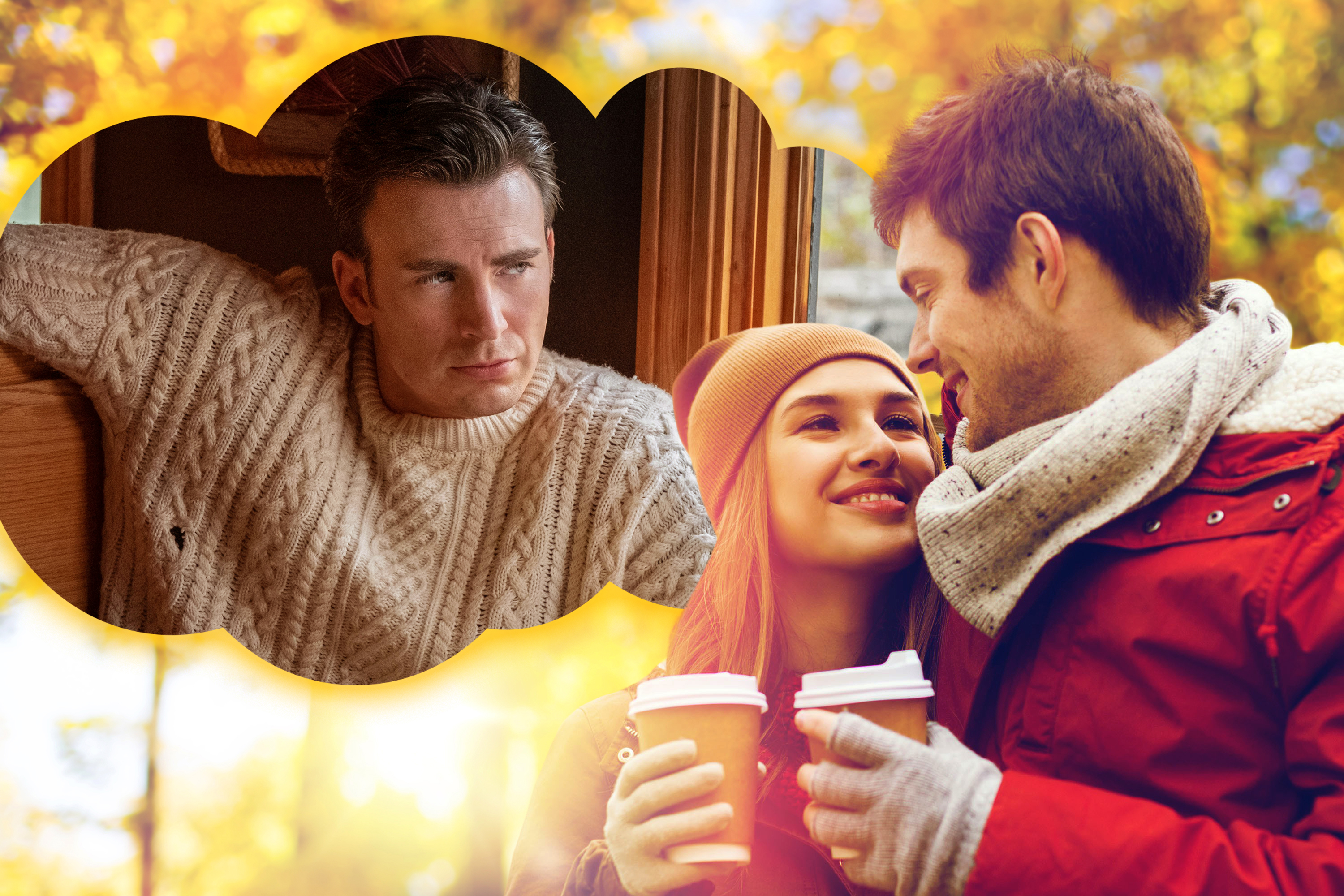 A couple holding take out coffees gaze at each other lovingly with Chris Evans in the movie Knives Out looking down on them from a thought bubble