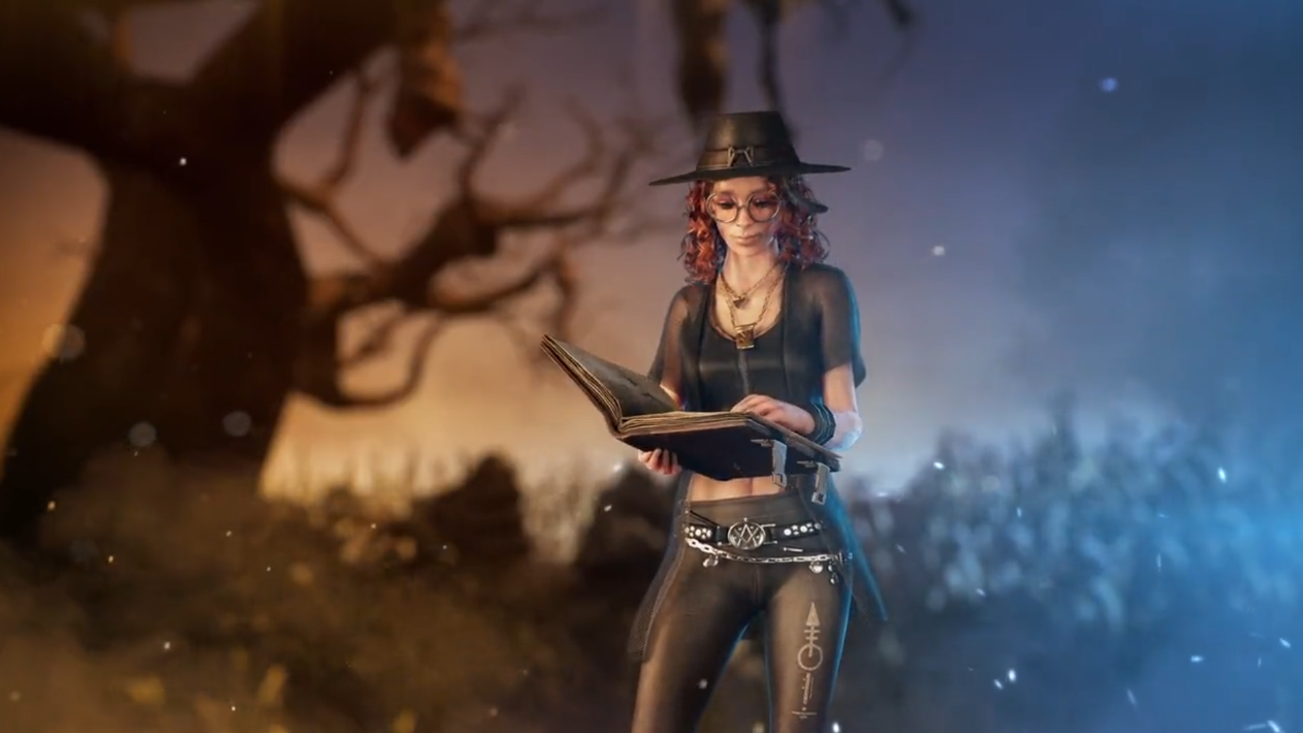 Dead by Daylight - Mikaela Reid, a young woman with curly red hair and witchy garb, looks through a book of spells