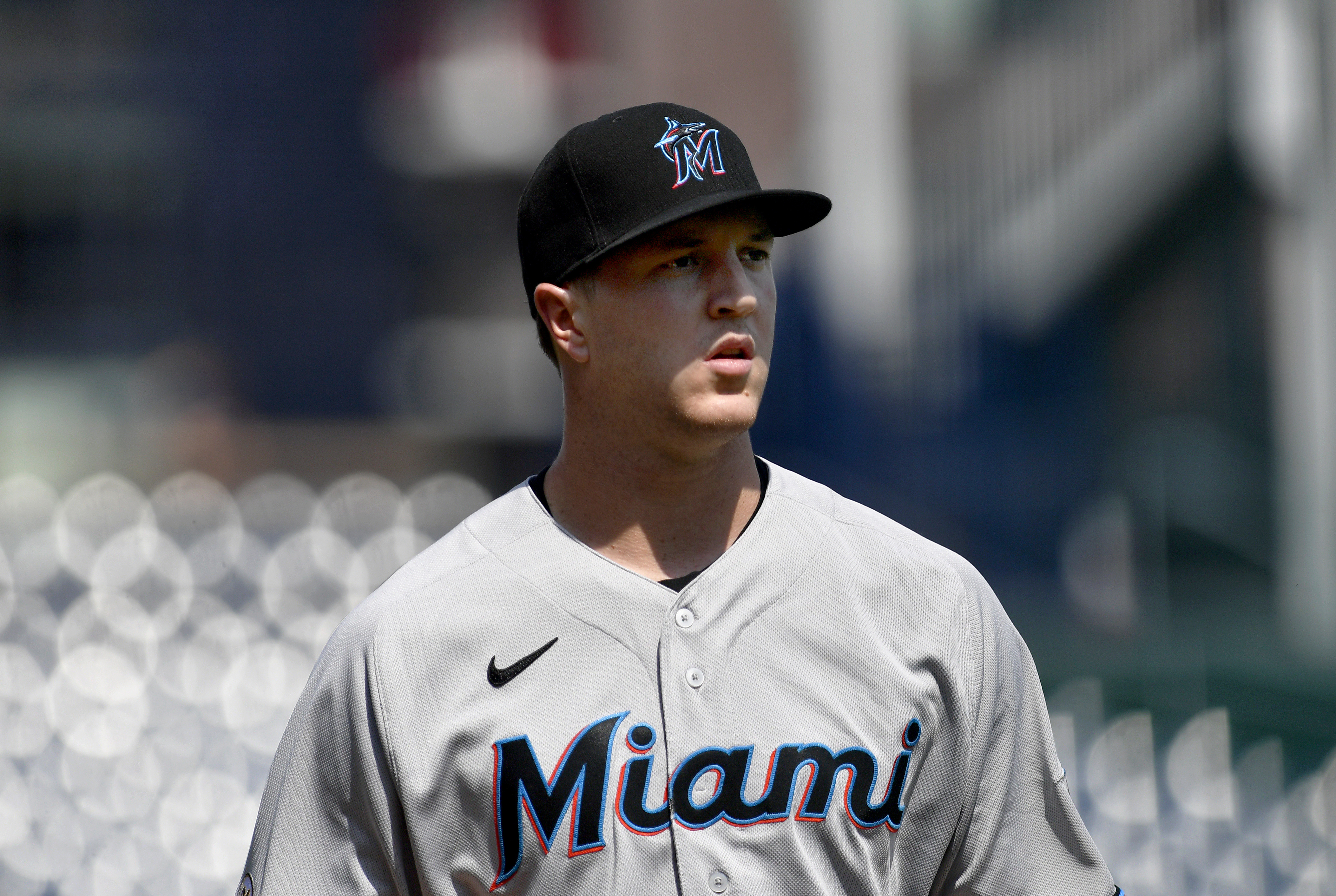 Miami Marlins pitcher Trevor Rogers (28) walks into the dugout during the Miami Marlins versus Washington Nationals MLB game at Nationals Park
