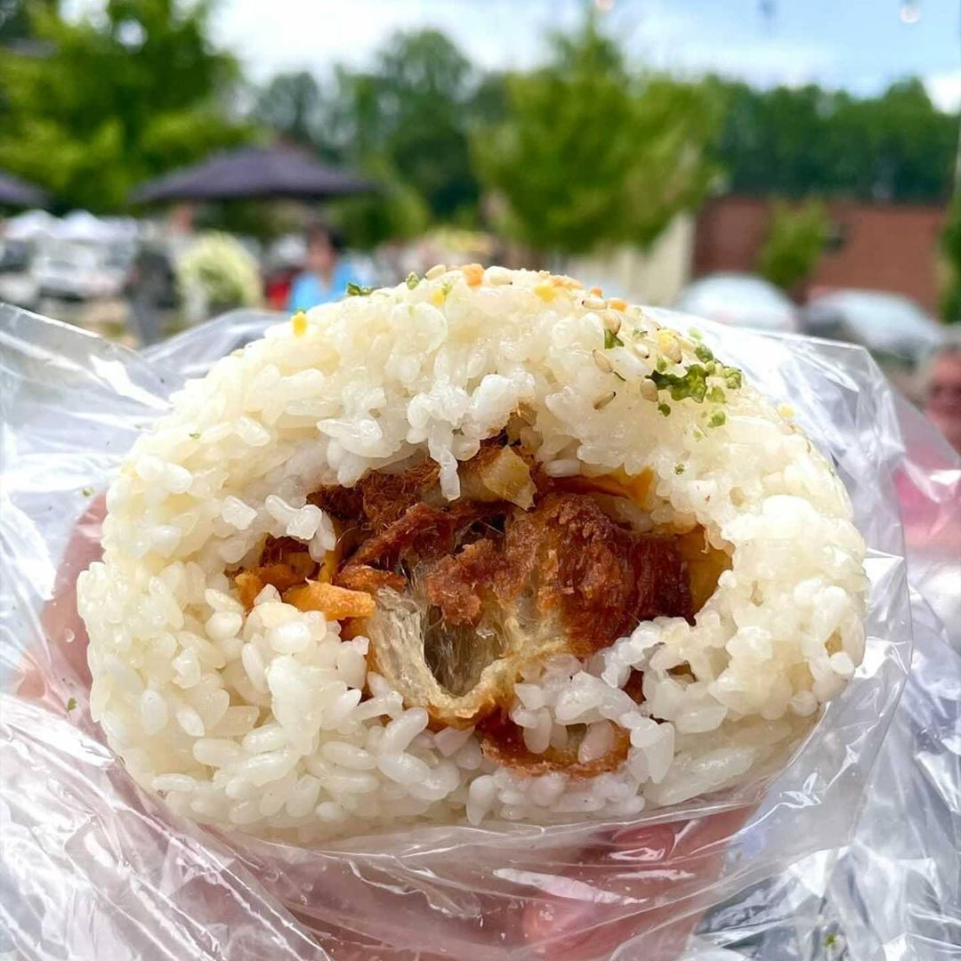 Taiwanese rice balls (fan tuan) made from hot sticky rice stuffed with pickled radish, pickled mustard greens, a braised egg, pork floss, and cruller