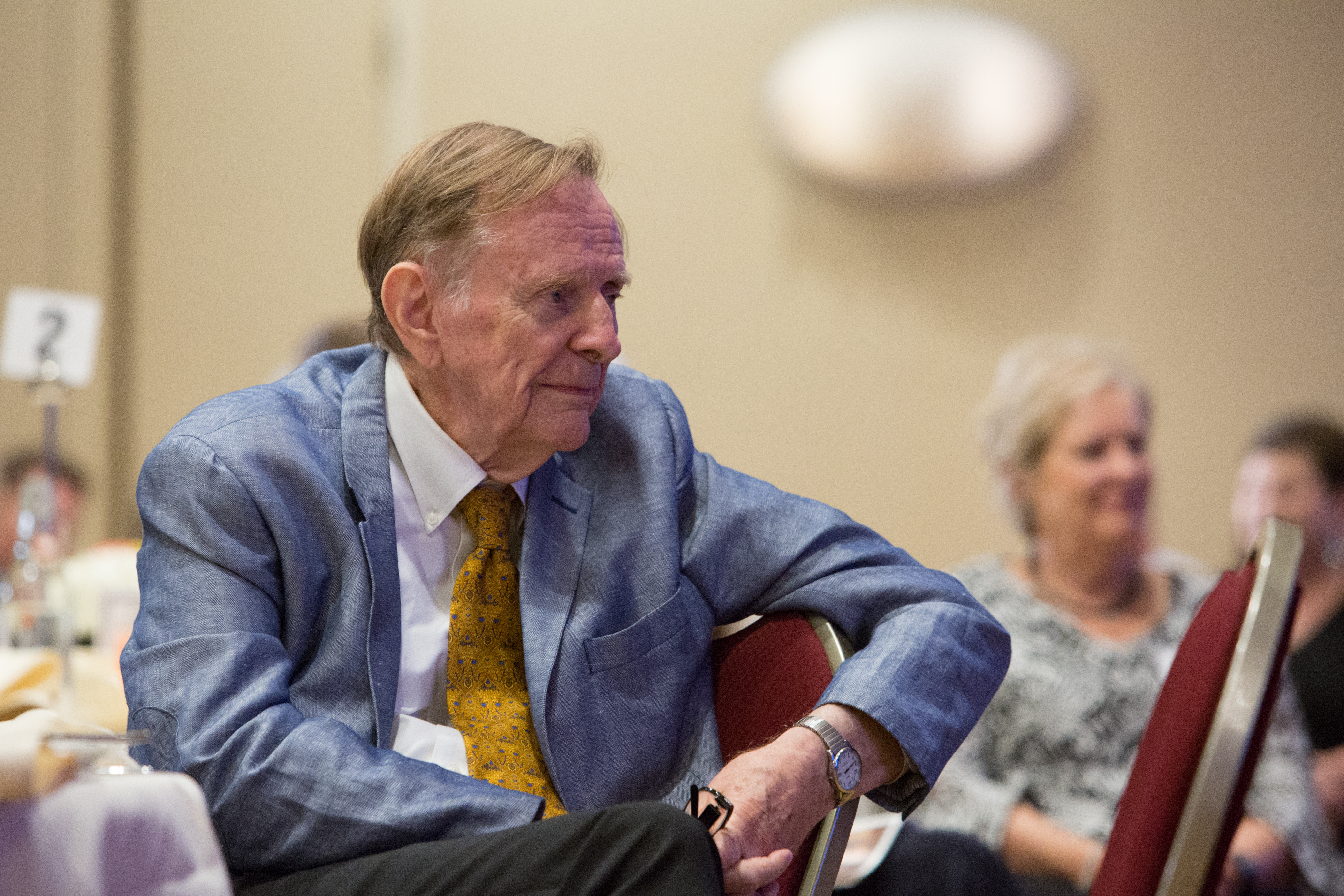 Author, historian and scholar Richard Bushman attends a birthday dinner in his honor.