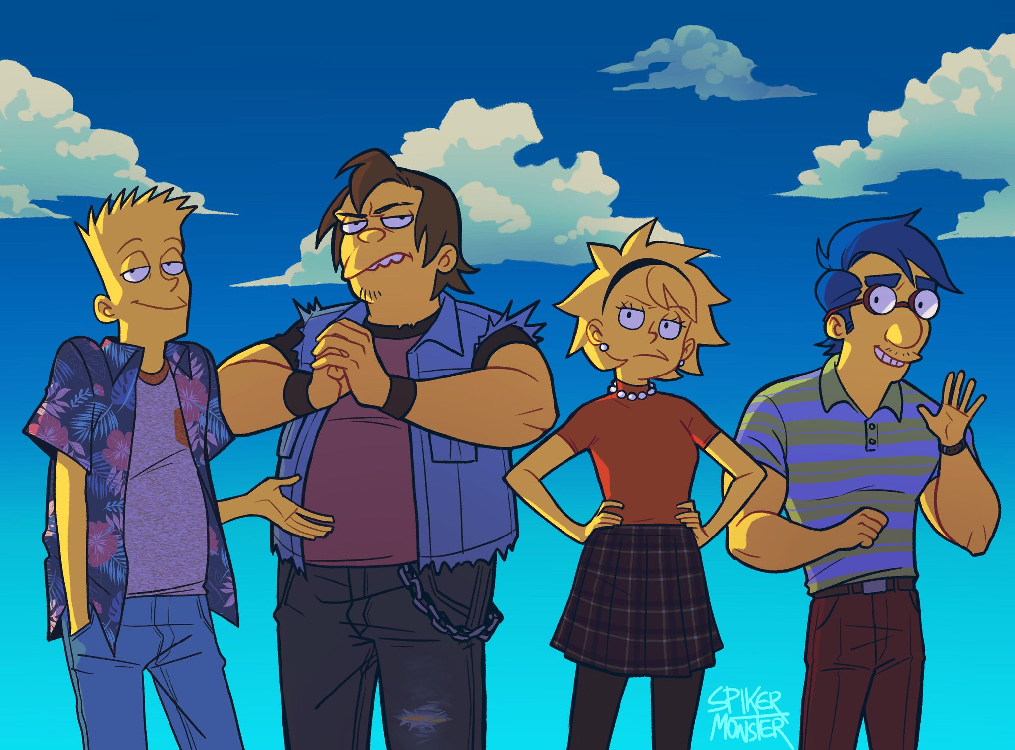 The Simpsons - a fan art depiction of older versions of Bart, Nelson, Lisa, and Milhouse.
