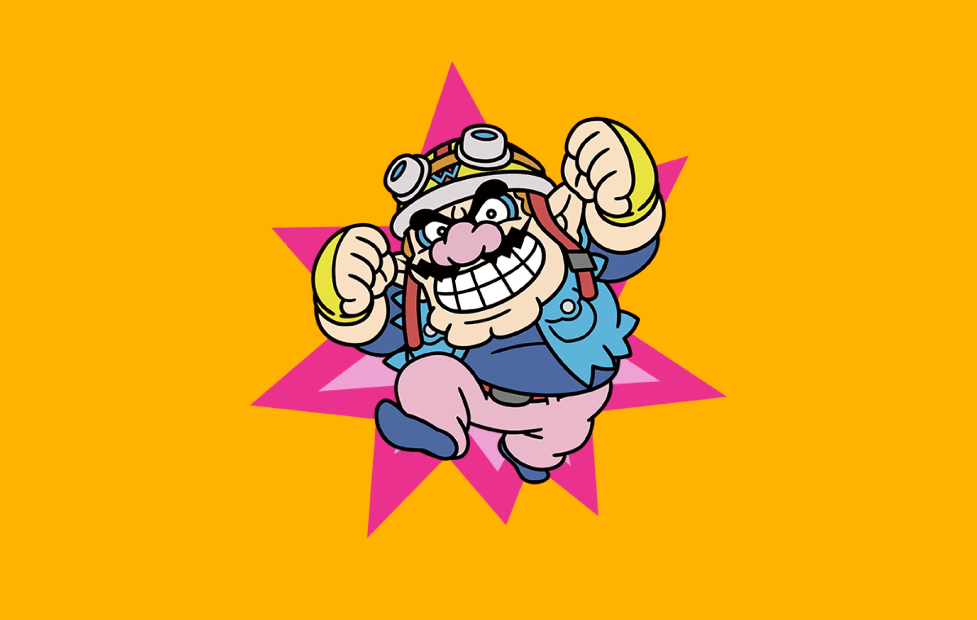 Wario jumps with his fist in the air