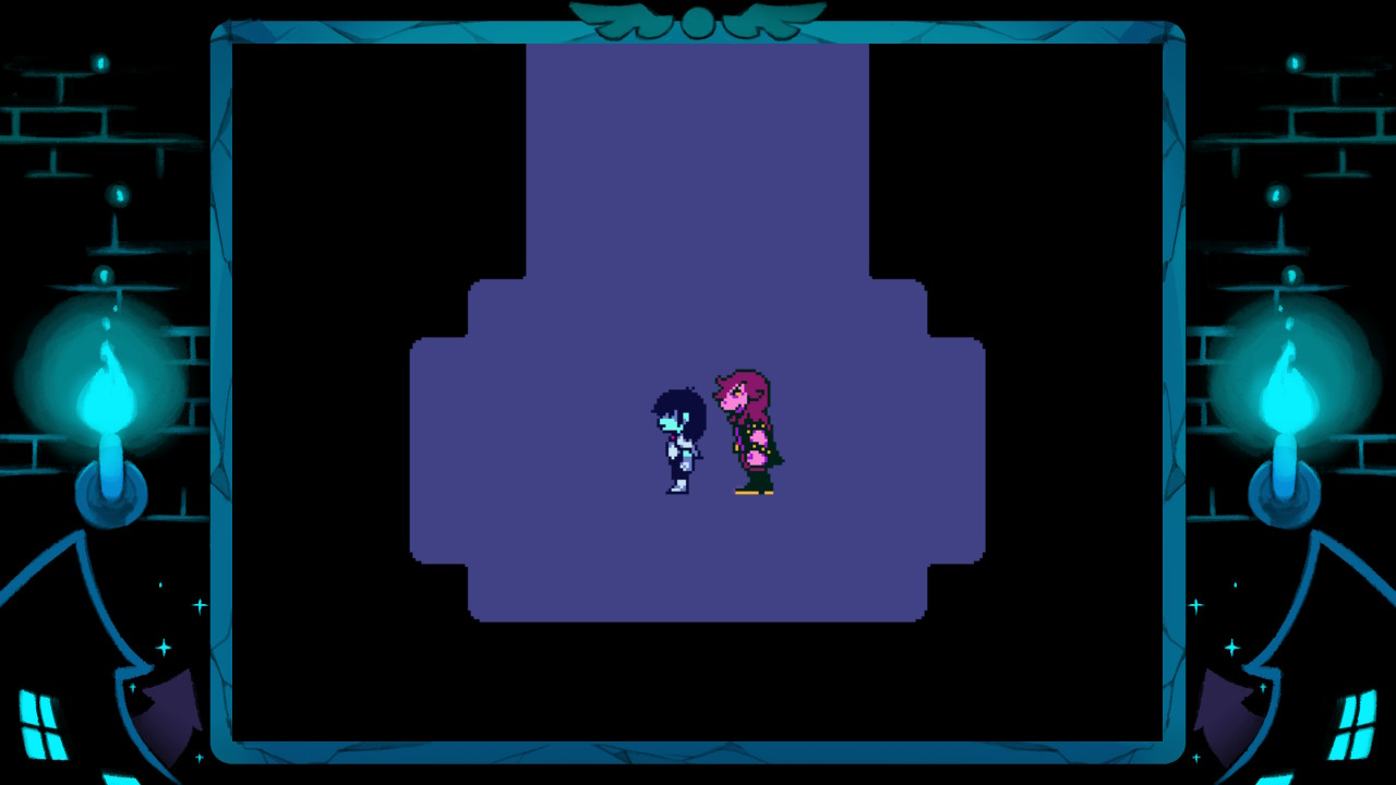 kris and susie standing side by side in Deltarune in the dark world