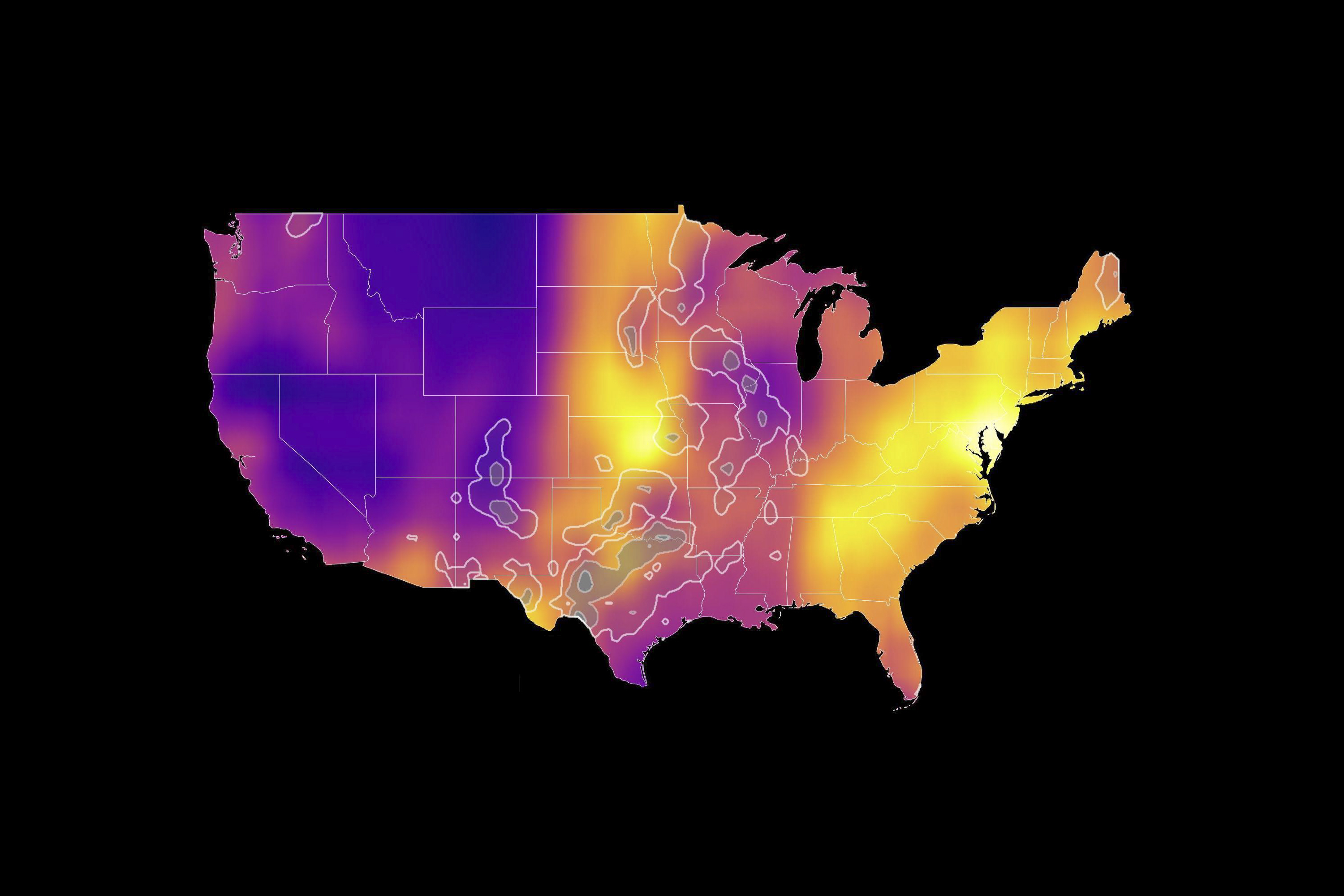 A map of the United States with colored bands showing the distribution of migratory birds.