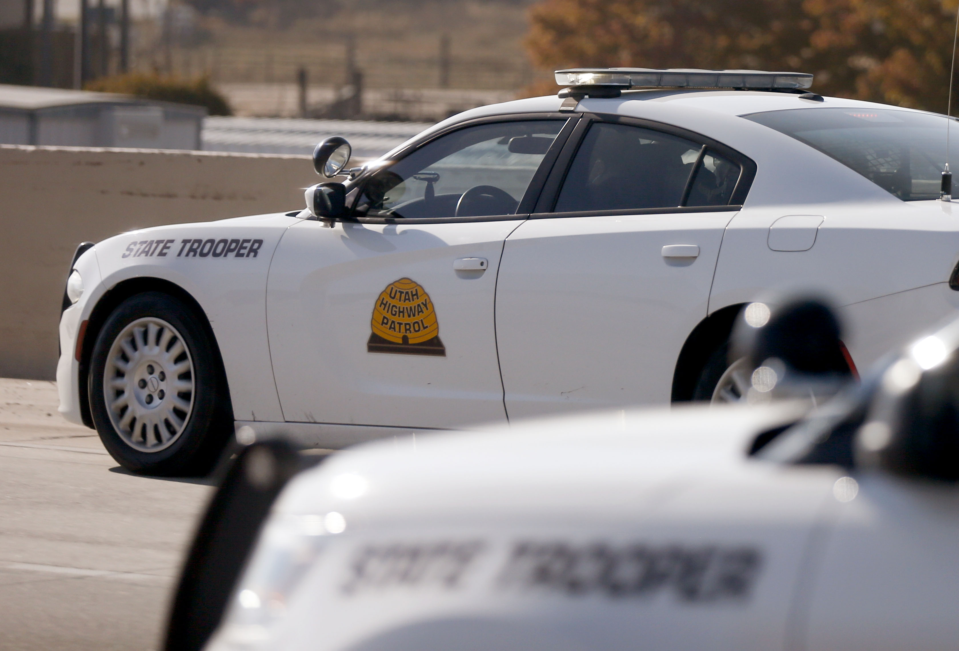 Utah Highway Patrol vehicles are pictured on I-15 in Utah County on Thursday, Oct. 29, 2020.
