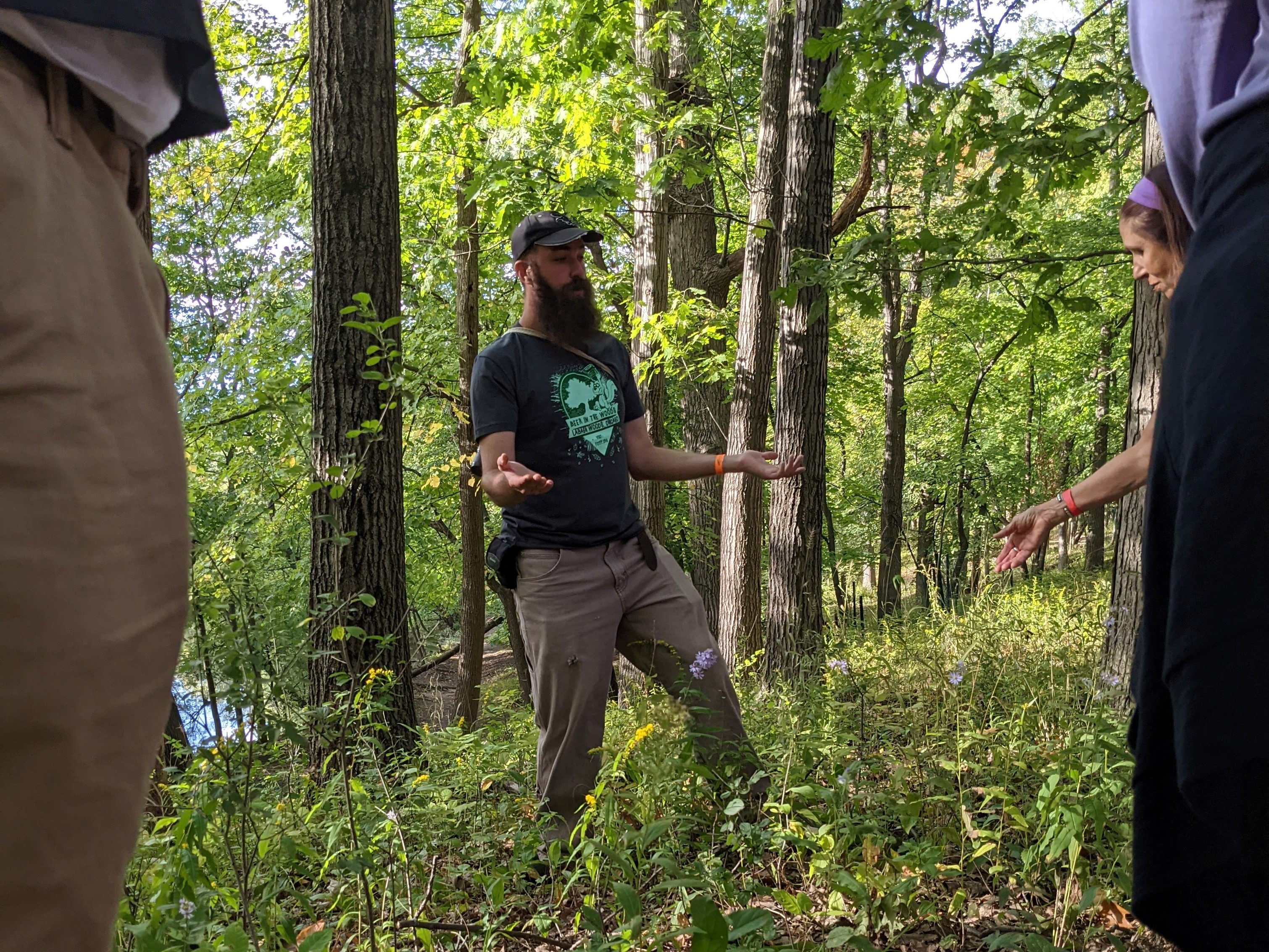 Derek Ziomber answers a question while leading a mini-bioblitz Saturday during Beer in the Woods. Credit: Dale Bowman