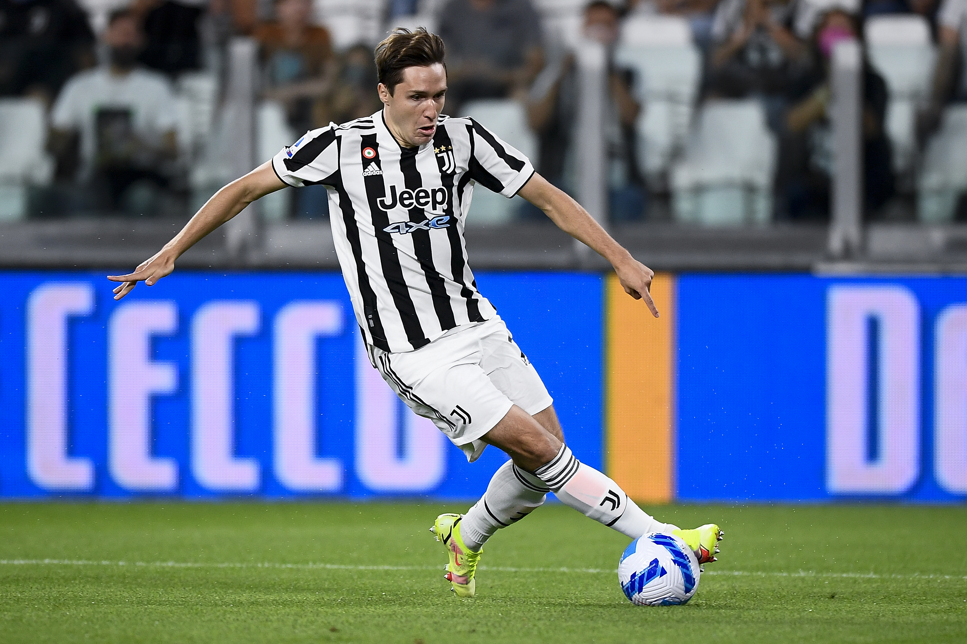 Federico Chiesa of Juventus FC in action during the Serie A...