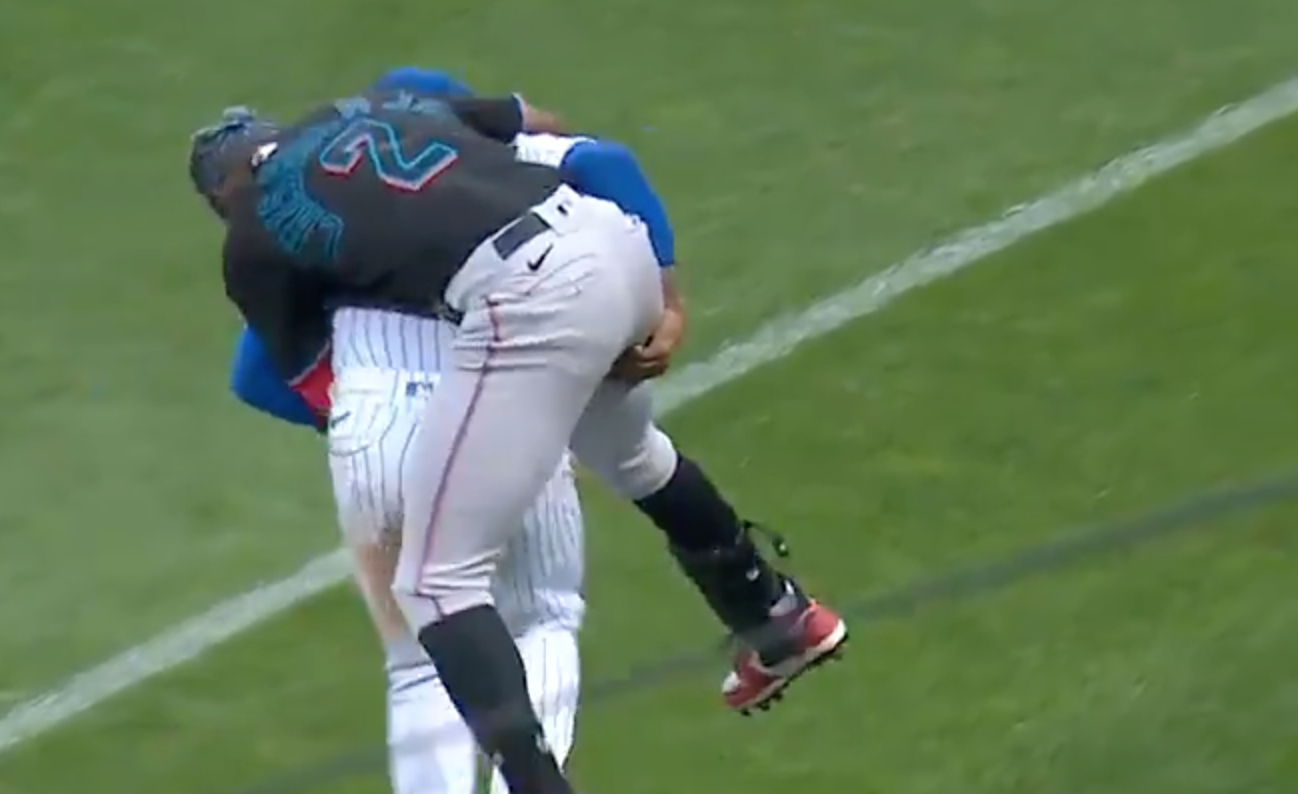 Marcus Stroman gives Jazz Chisholm Jr. an impromptu piggyback ride during a Marlins vs. Mets game at Citi Field