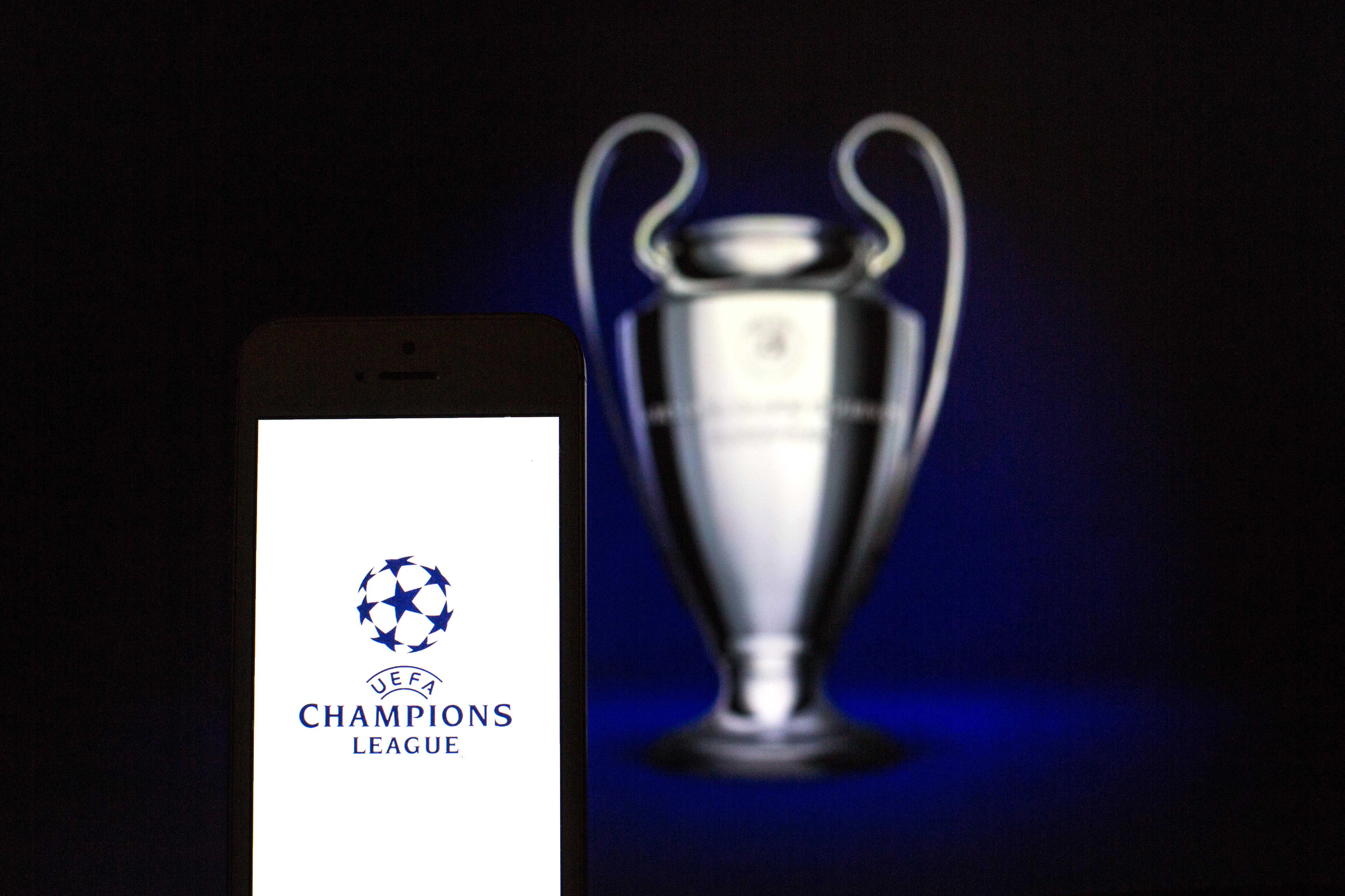 In this photo illustration the UEFA Champions League logo...